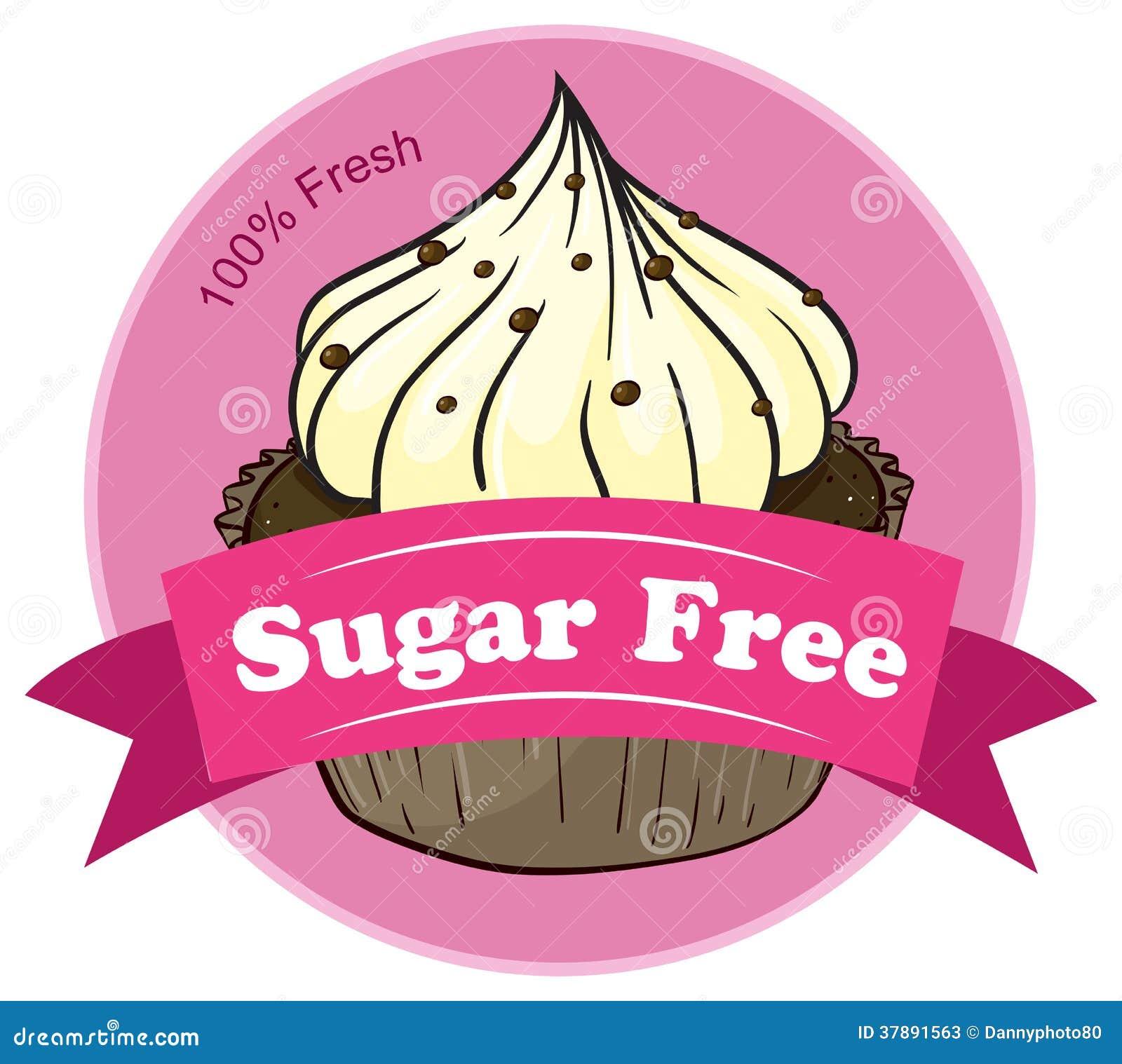 Een suiker vrij etiket met een cupcake