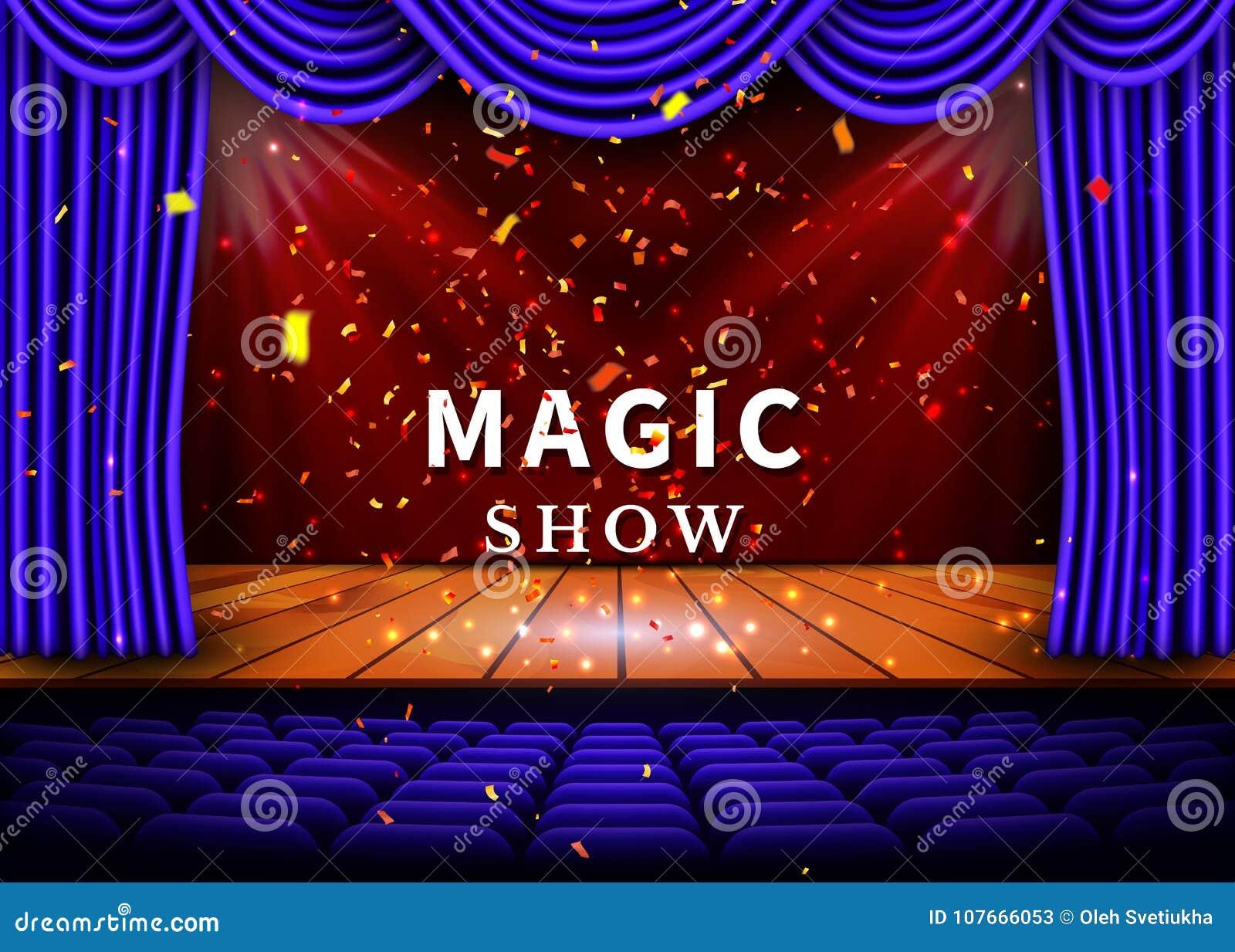 Een theaterstadium met een blauw gordijn en een schijnwerper en houten vloer Magisch toon Affiche Vector
