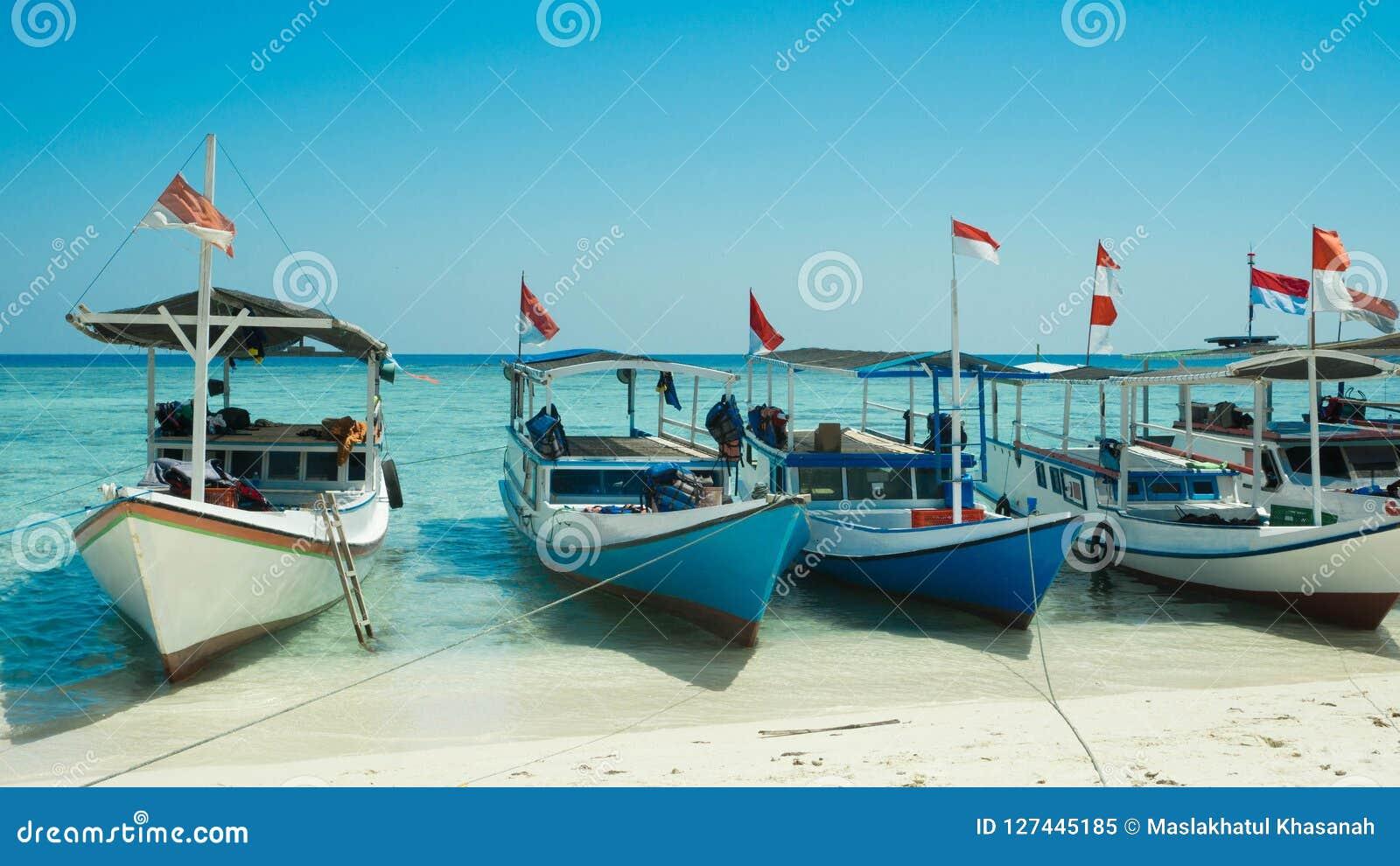 Een traditionele boot in rij met houten materiaal en Indonesië markeren