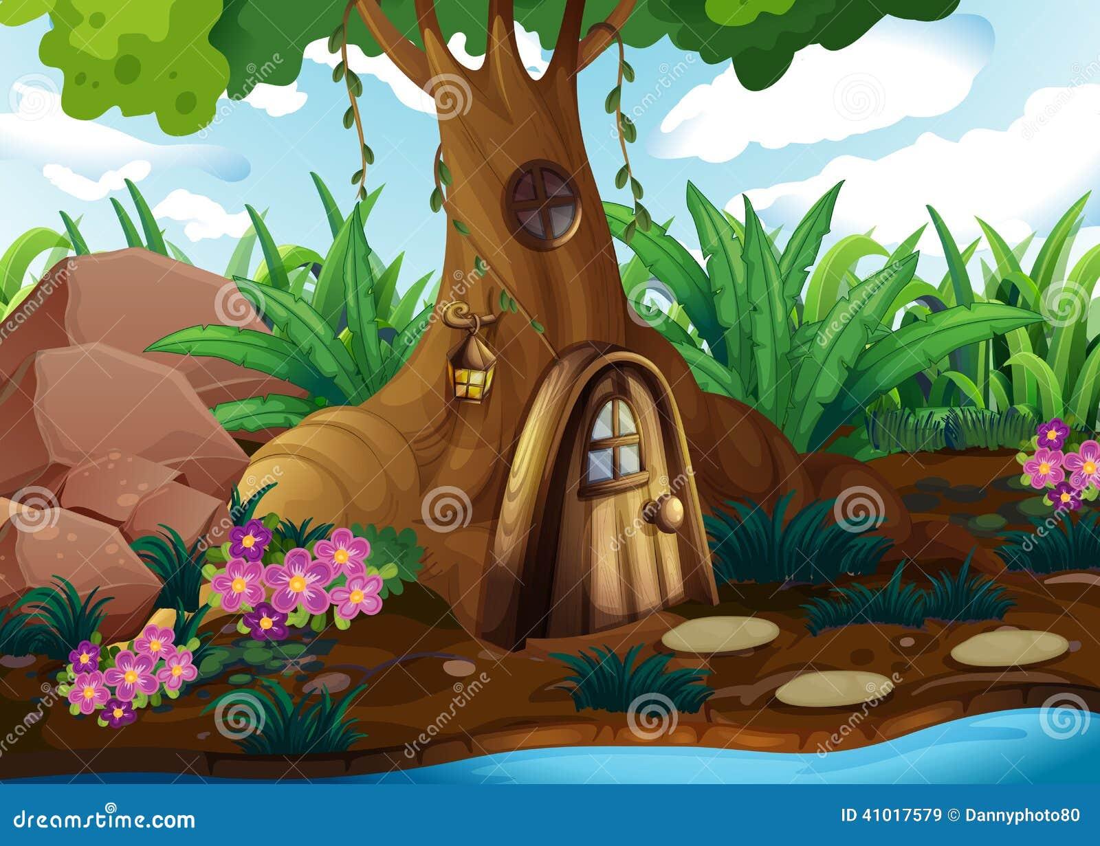 Een treehouse bij het bos