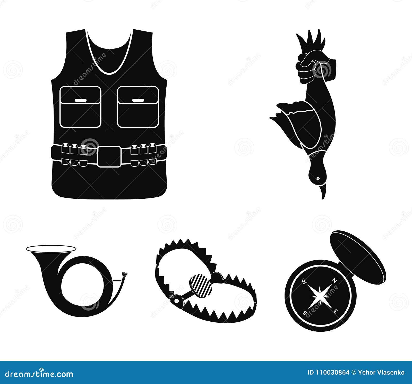 Een trofee in zijn hand, een staalval, een de jachtvest met bescherming, een hoorn Pictogrammen van de de jacht de vastgestelde i