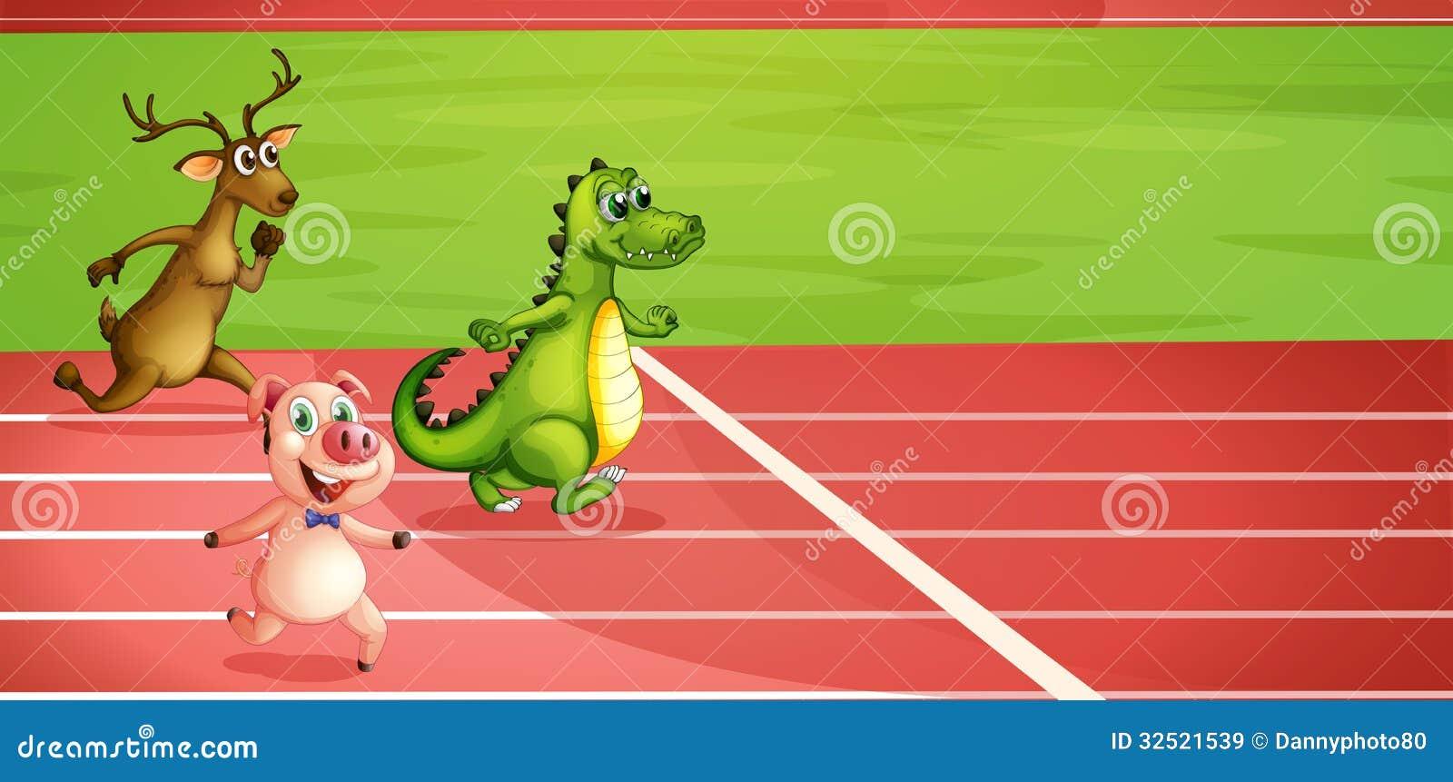 Een varken, een krokodil en herten het lopen
