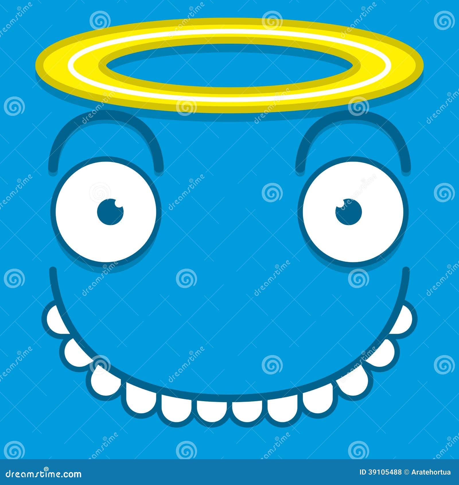 Een Vector Leuk Beeldverhaal Blauw Angel Face