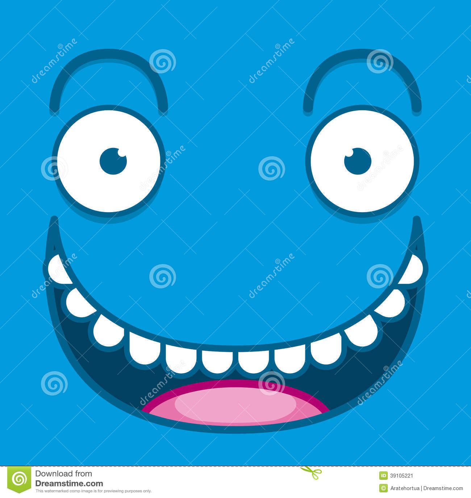 Een Vector Leuk Beeldverhaal Blauw Gelukkig Gezicht