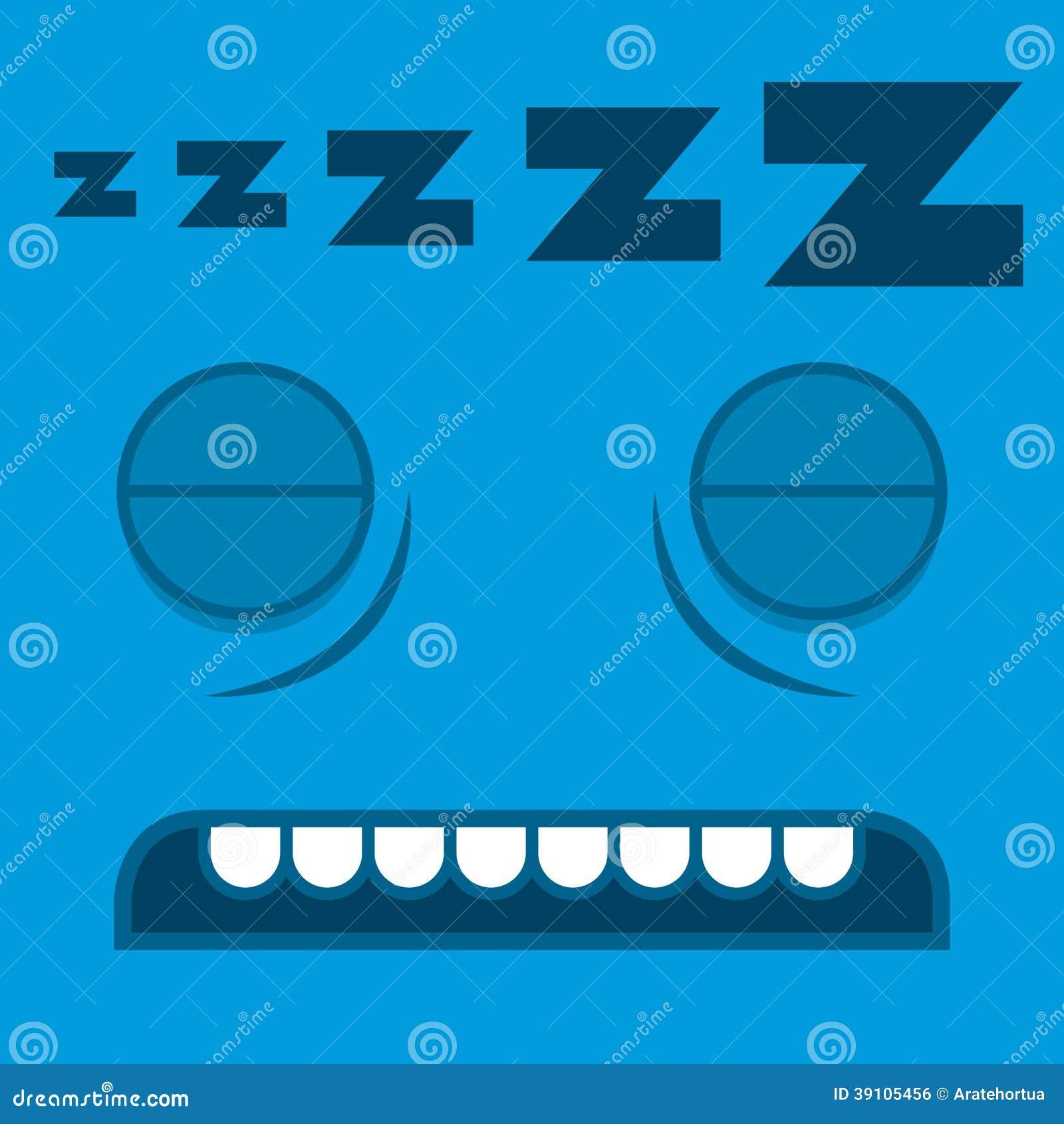 Een Vector Leuk Beeldverhaal die Blauw Gezicht slapen