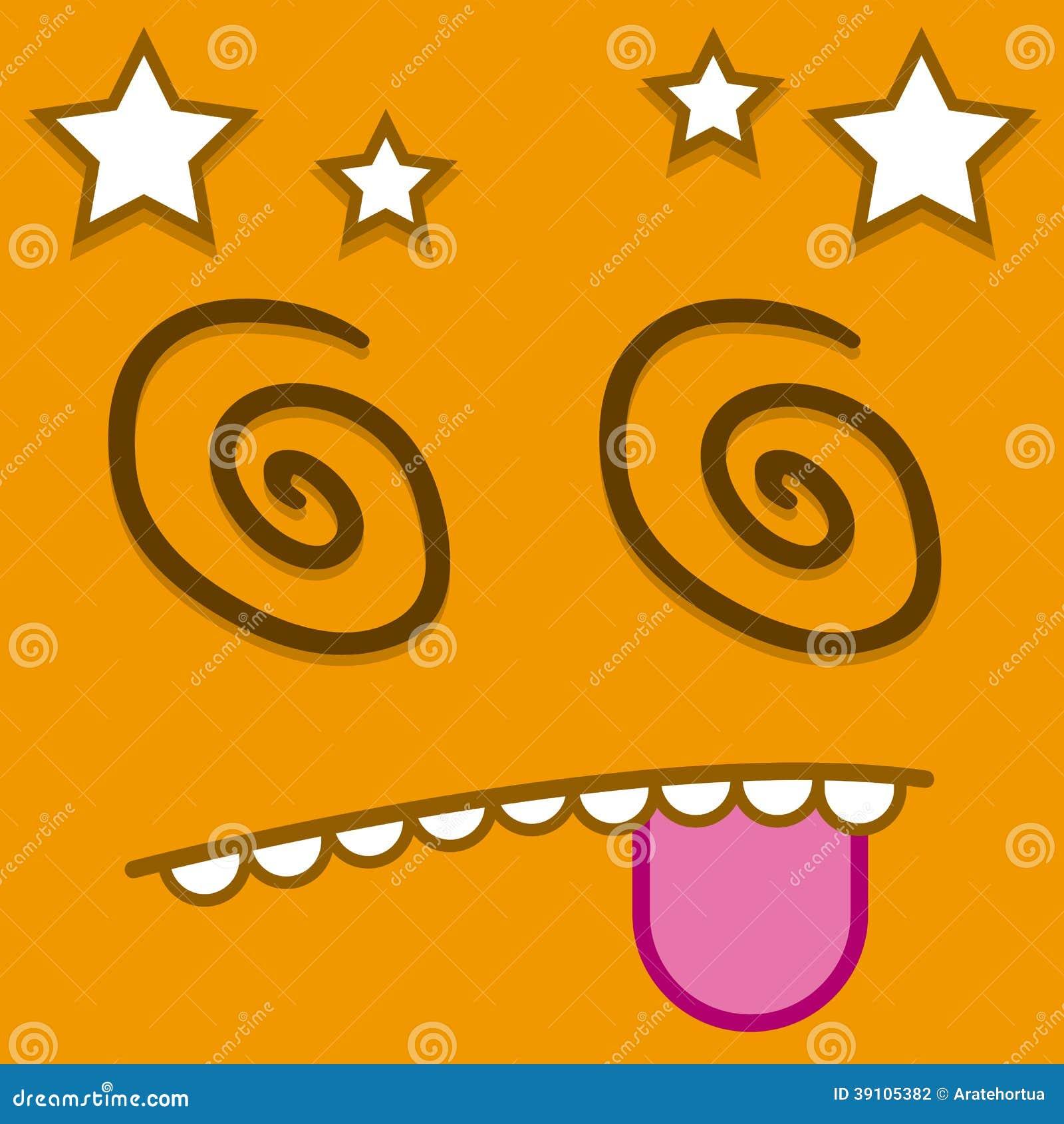Een Vector Leuk Beeldverhaal Oranje Dizzy Face