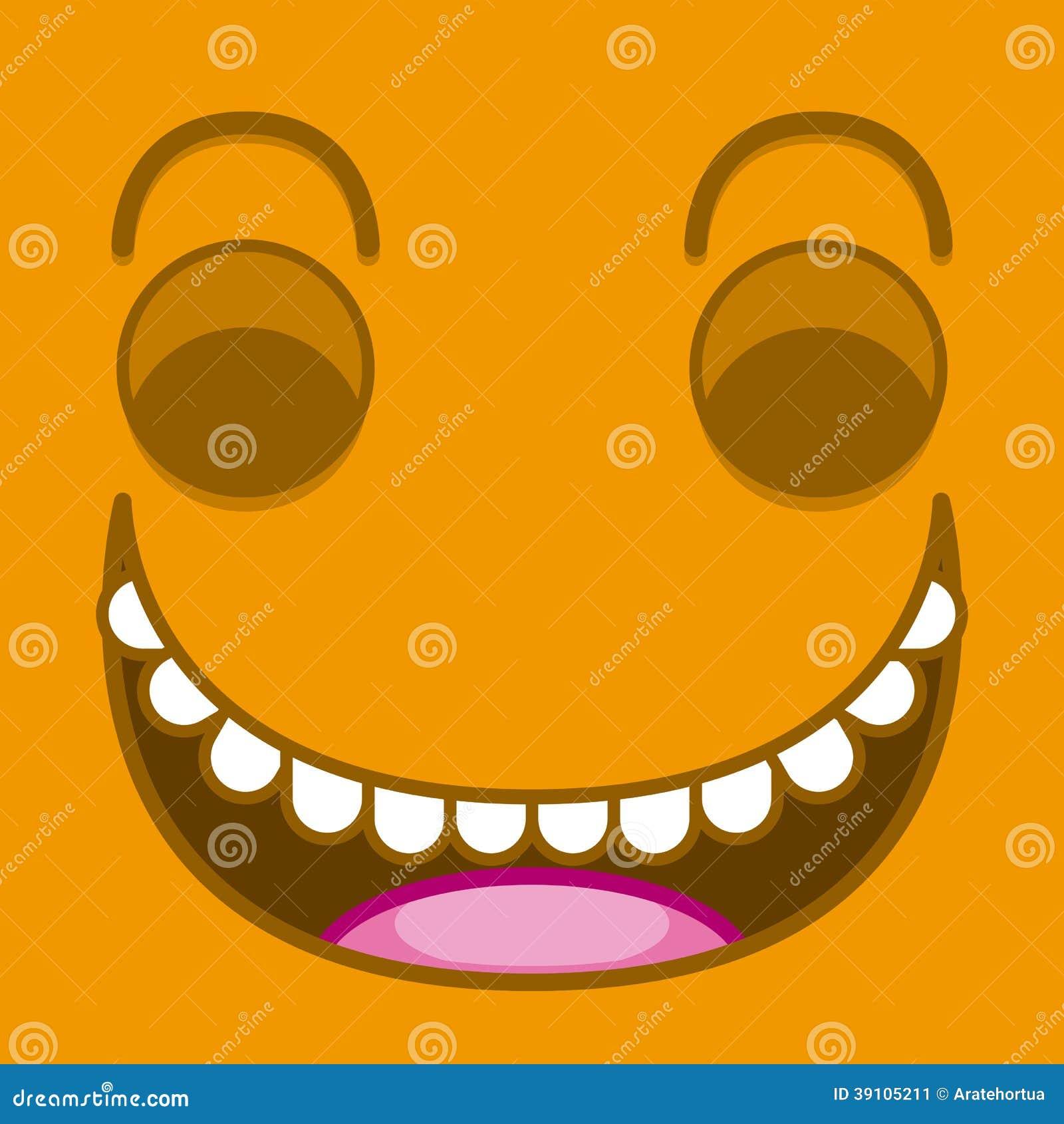 Een Vector Leuk Beeldverhaal Oranje het Lachen Gezicht