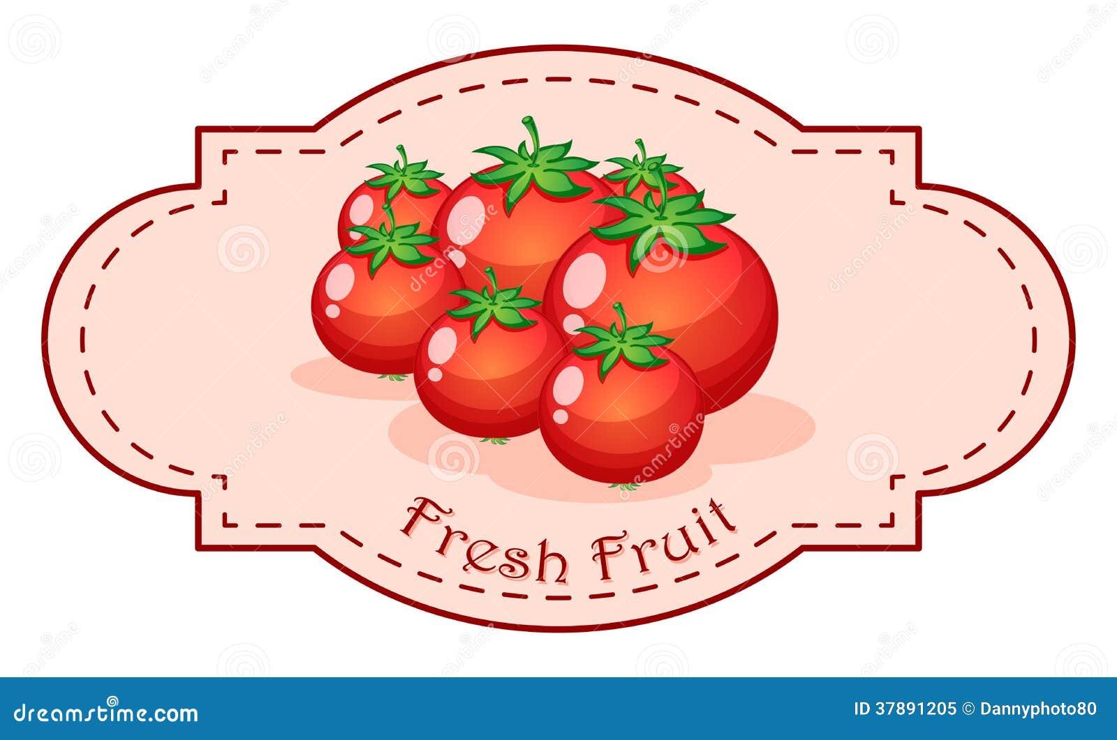 Een vers fruitetiket met verse tomaten