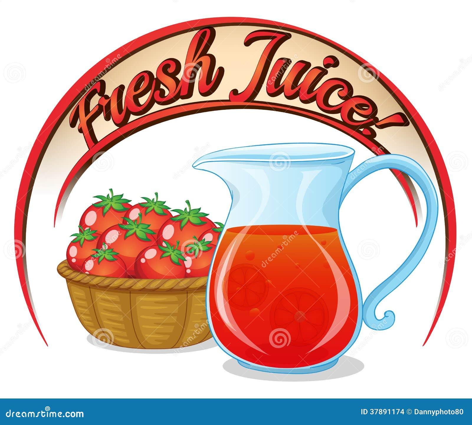 Een vers sapetiket met een mand van tomaten en een waterkruik van j
