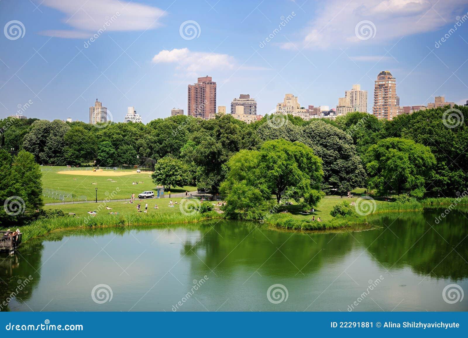 Een vijver in het central park van de stad van new york in for Teich design new york