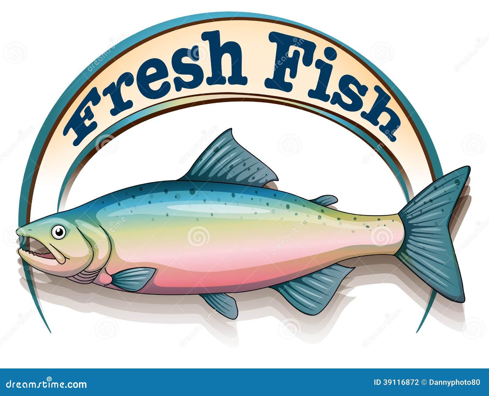 Een vis met een vers vissenetiket