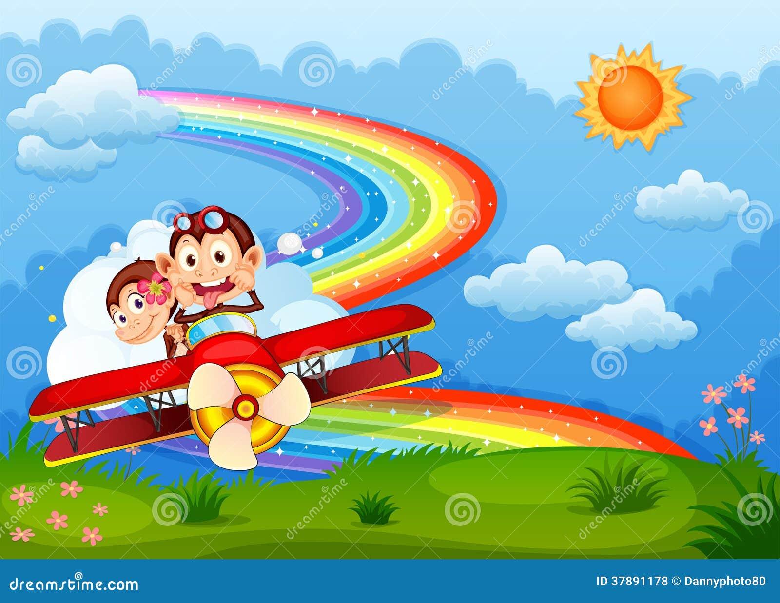Een vliegtuig met twee opschepperige apen en een regenboog in de hemel