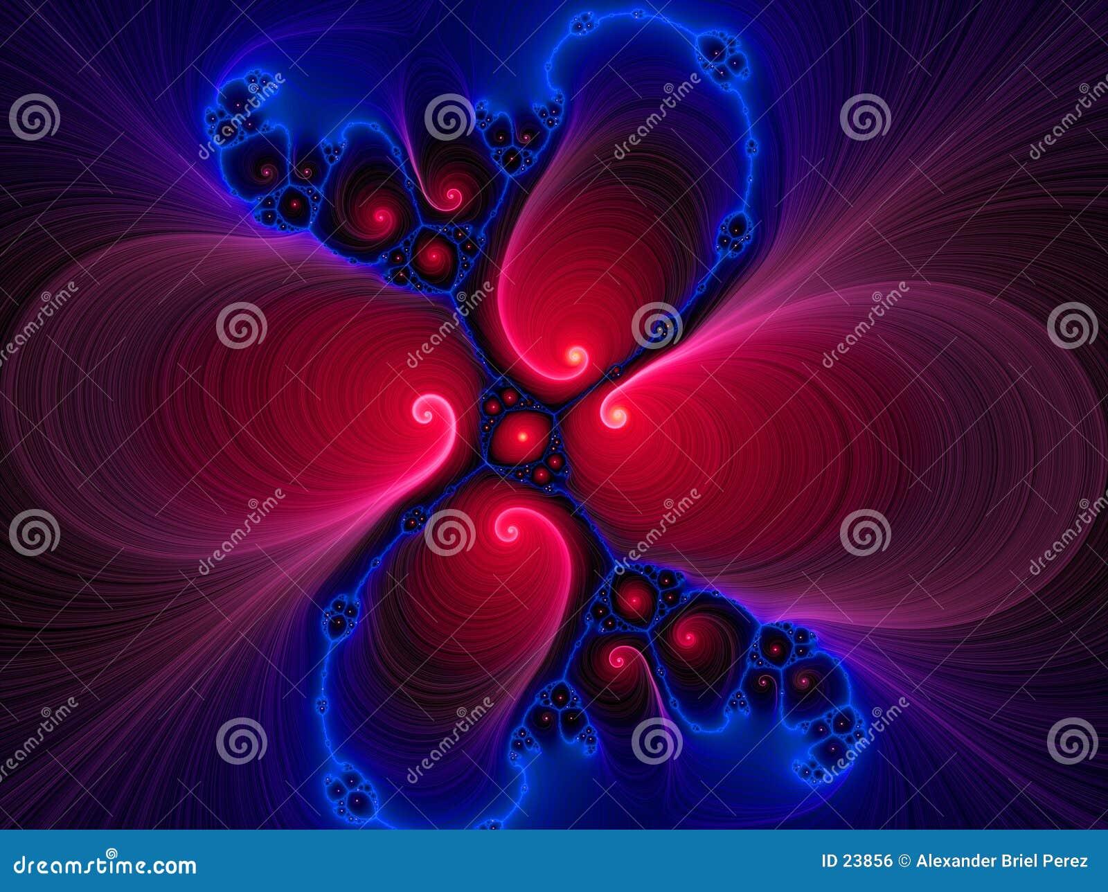 Een vloeibaar wervelings rood blauw