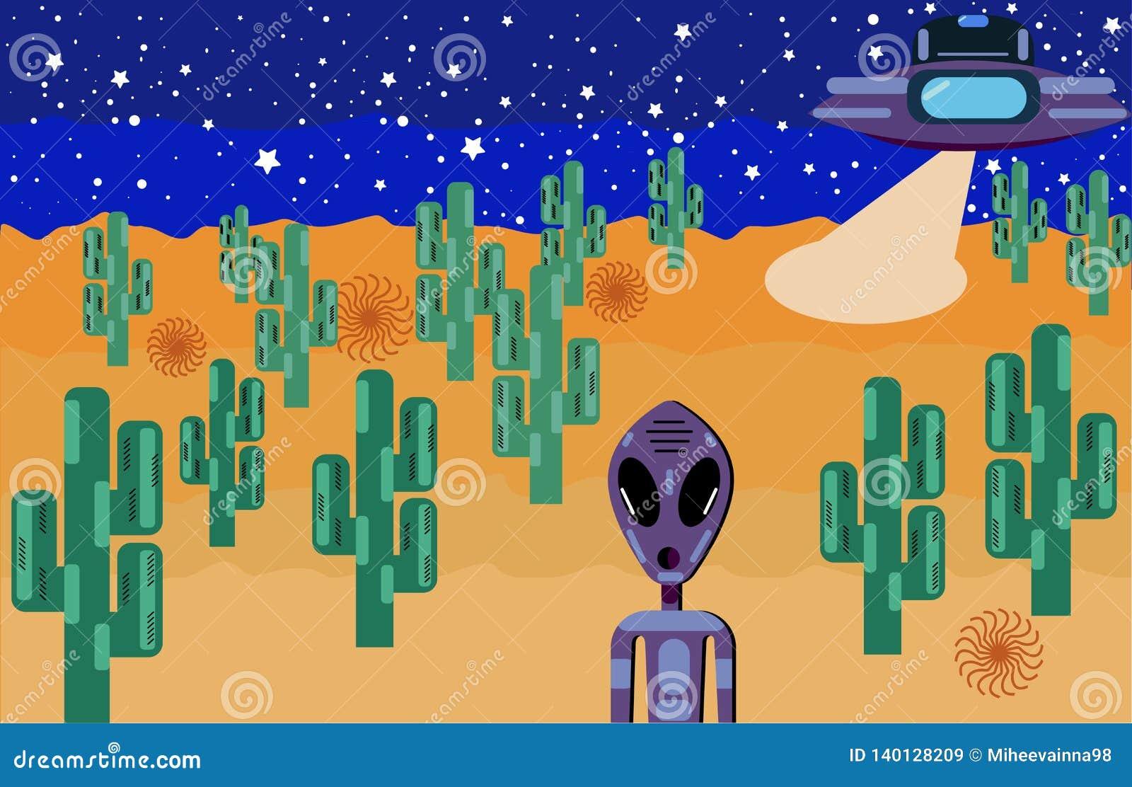 Een vreemdeling met grote ogen landde in de woestijn op een UFO