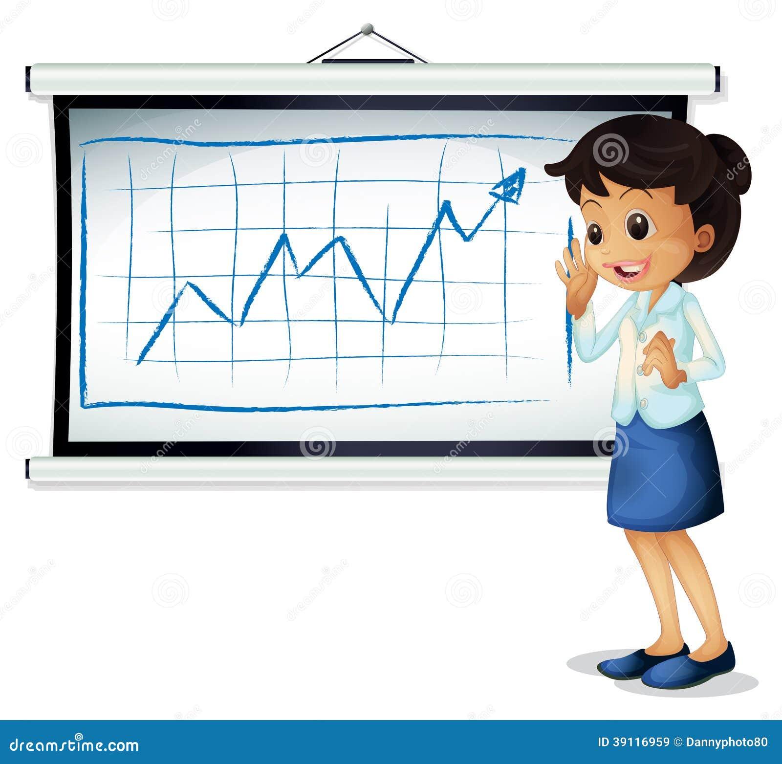 Een vrouw die de grafiek verklaren