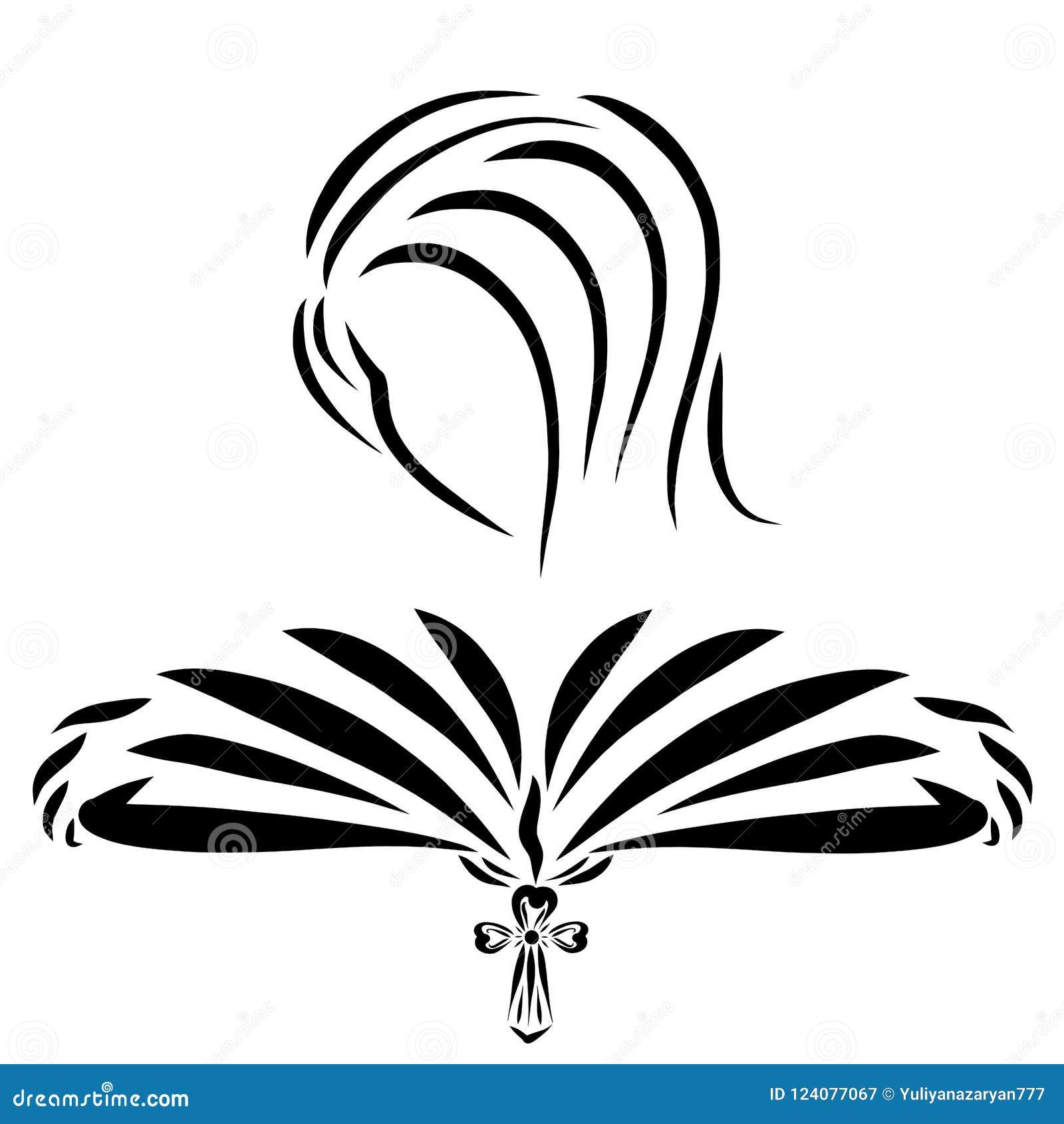 Een vrouw leest een boek, een referentie met een Christelijk kruis