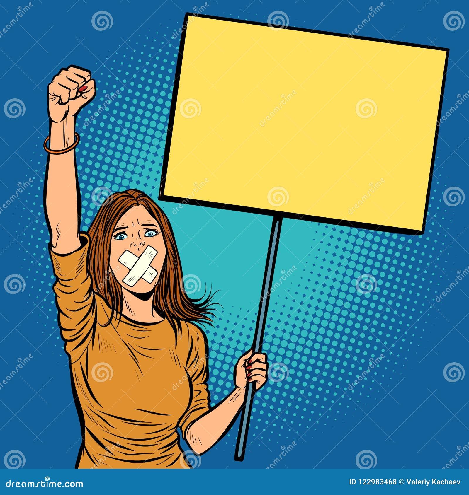 Een vrouw met een prop in haar mond protesteert voor vrijheid van toespraak a