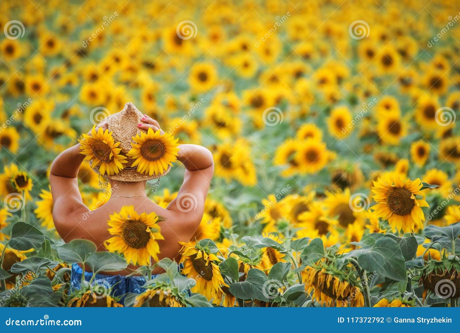 Een vrouw op middelbare leeftijd met een strak cijfer onder het gebied van zonnebloemen,