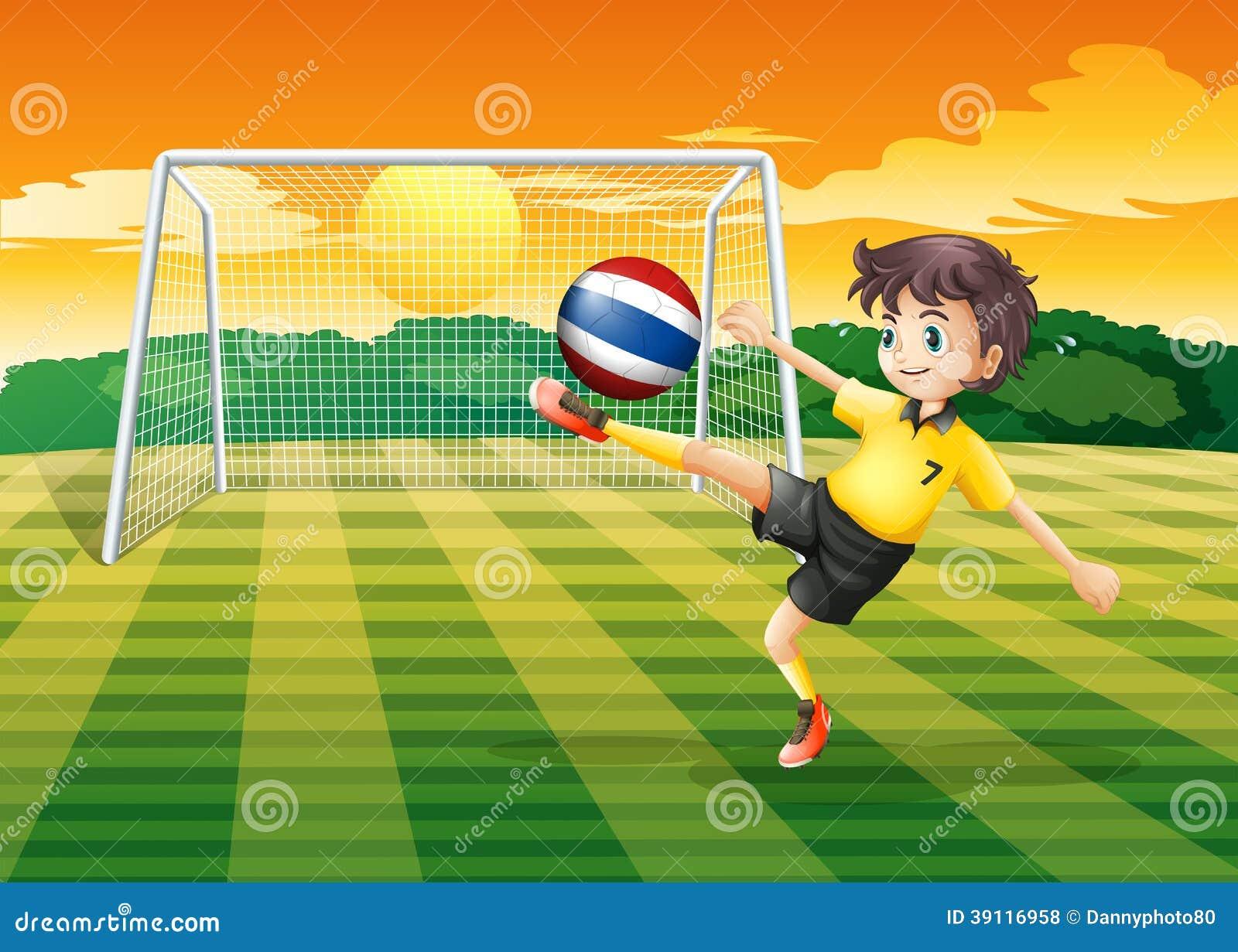 Een vrouwelijke speler die de bal van Thailand schoppen