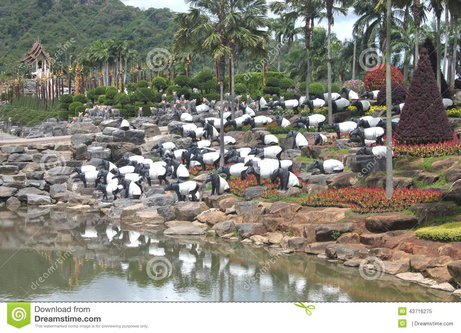 Een weide met overzeese olifanten en gras en bomen en stenen en vijver in de tropische - Foto van tuin vijver ...