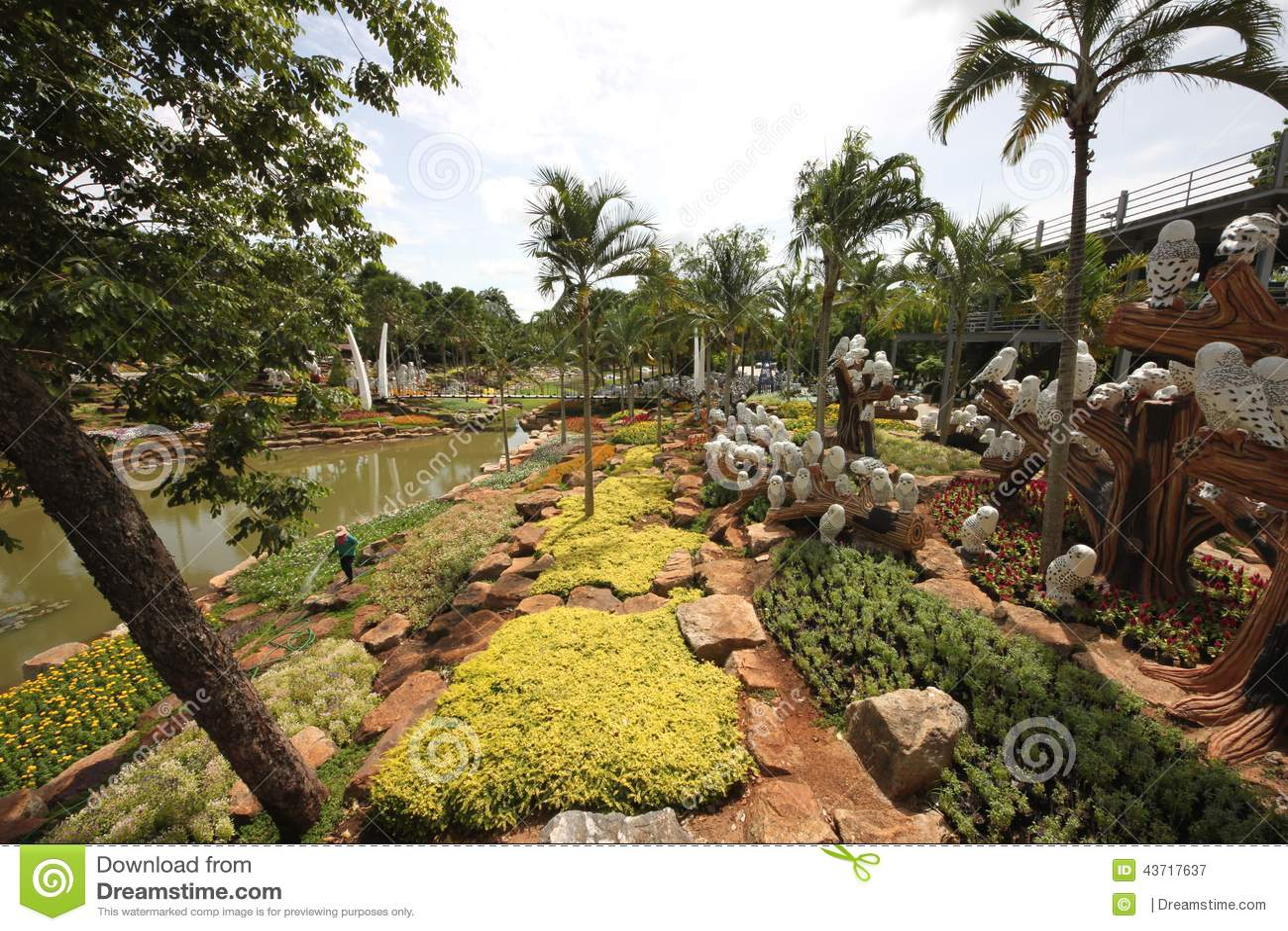 Een weide met uil en gras en bomen en stenen en vijver in de tropische botanische tuin van nong - Foto van tuin vijver ...
