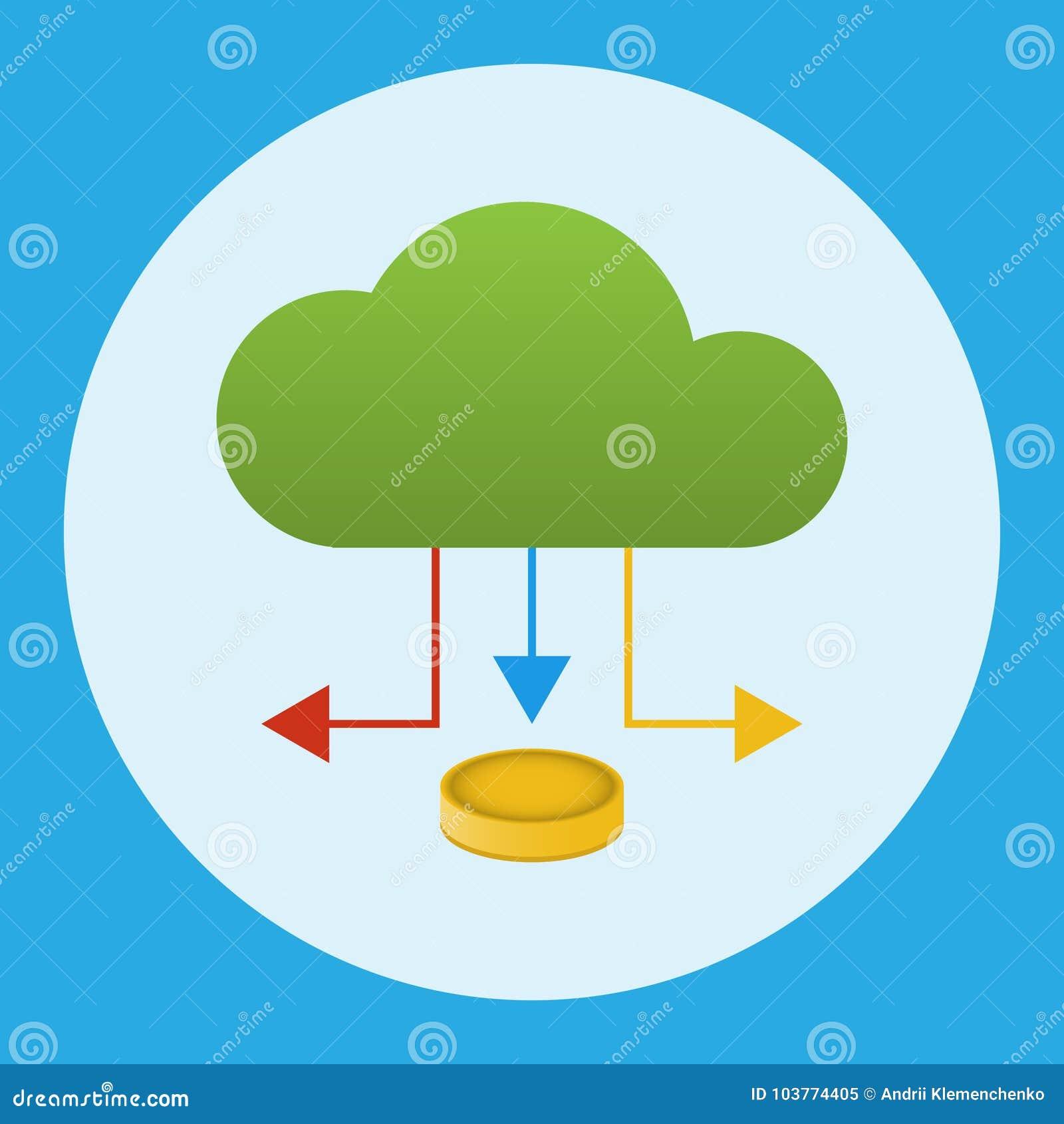 Een wolk met een pijl waaronder een muntstuk Bedrijfs concept Vector illustratie