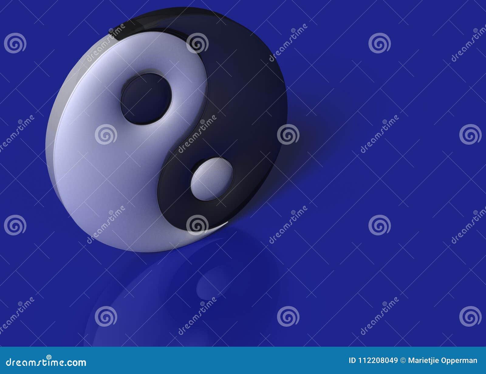 Een yin yang ondertekent op een blauwe achtergrond
