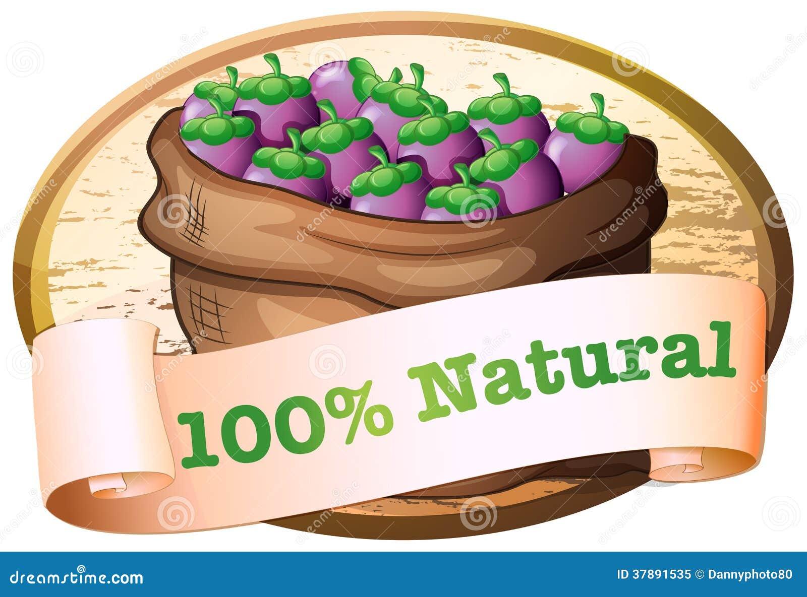 Een zak aubergines met een natuurlijk etiket