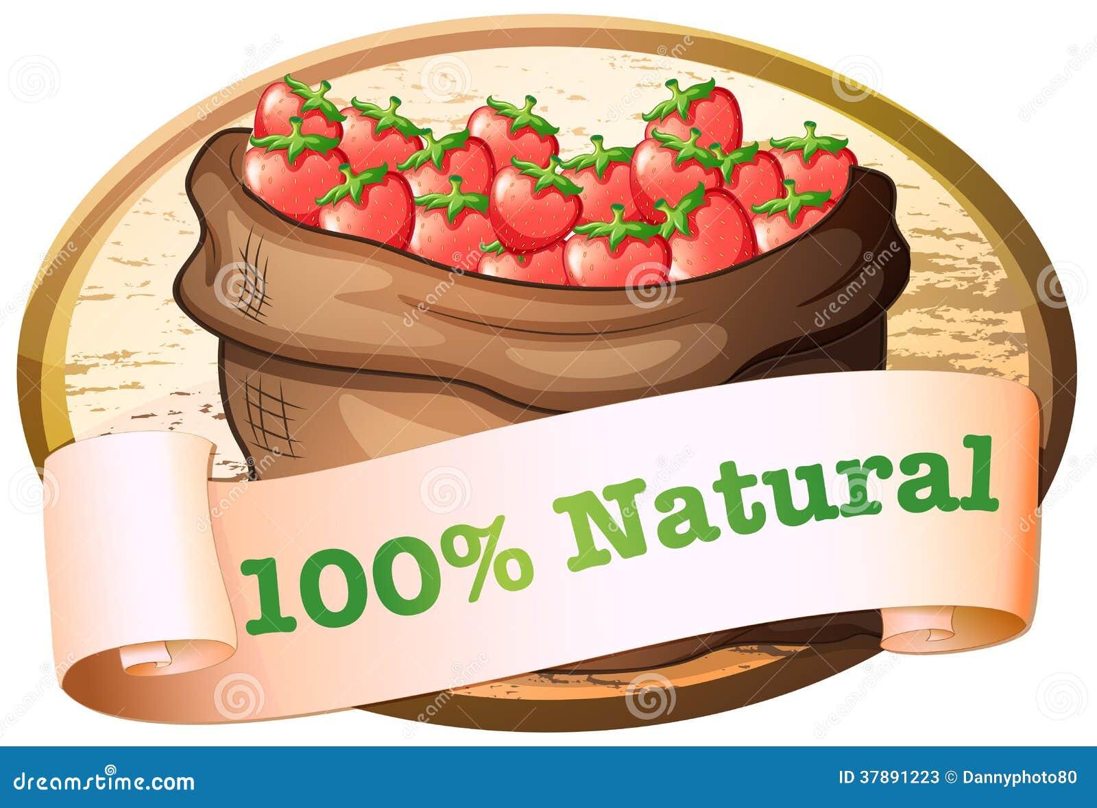 Een zak van aardbeien met een natuurlijk etiket