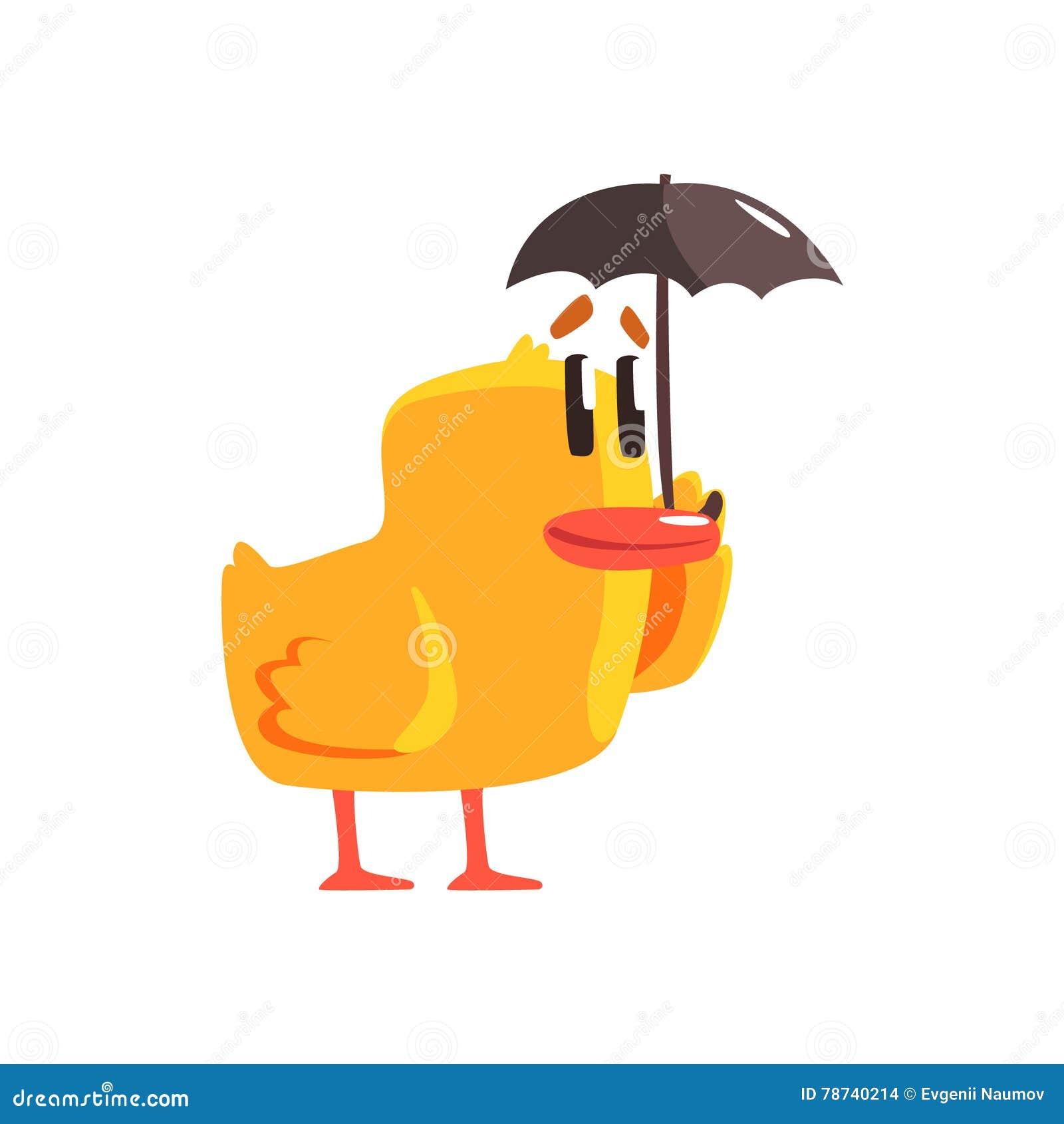 Eendje Met Sticker Van Het Paraplu De Leuke Karakter Vector Download Illustratie Bestaande Uit