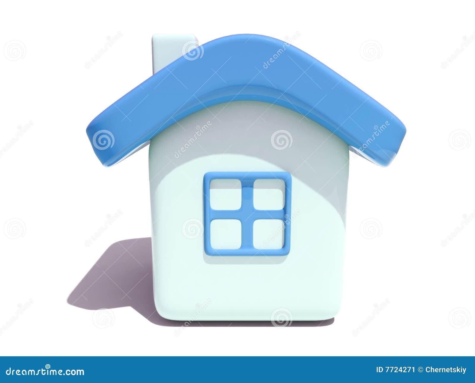 Eenvoudig 3D huis met blauw dak