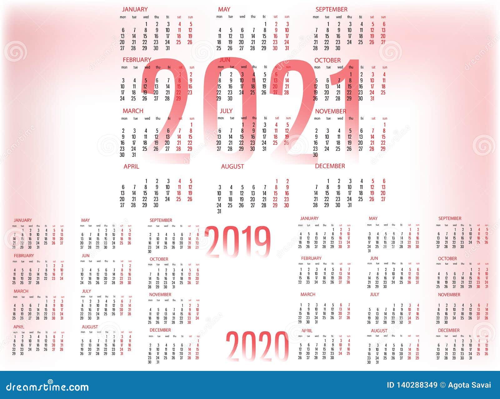 Eenvoudig Kalendermalplaatje voor 2019, 2020 en 2021 De week begint van Maandag