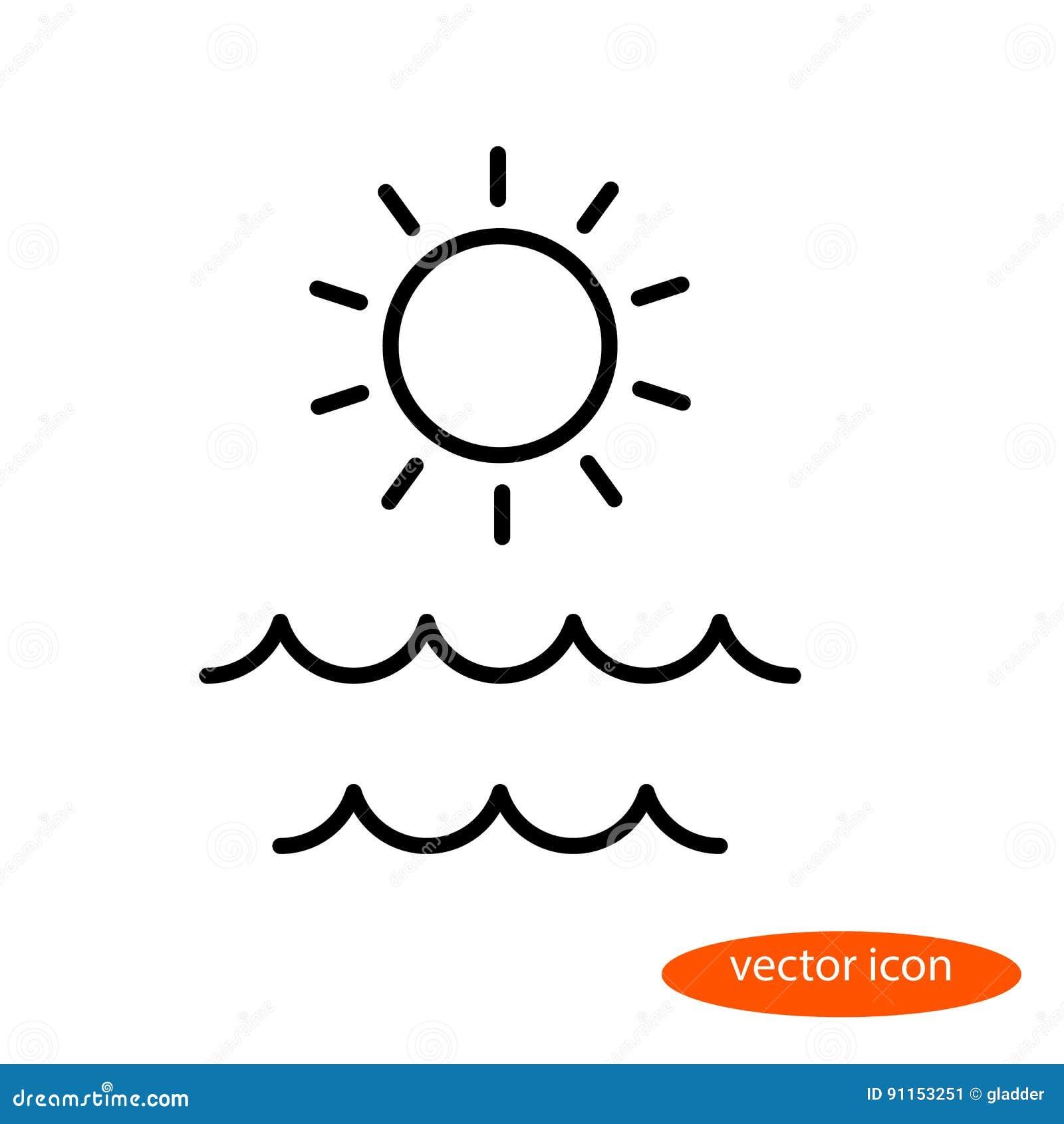 Eenvoudig lineair beeld van de zon en de golven op het overzees, een vlak lijnpictogram voor een reisbureau