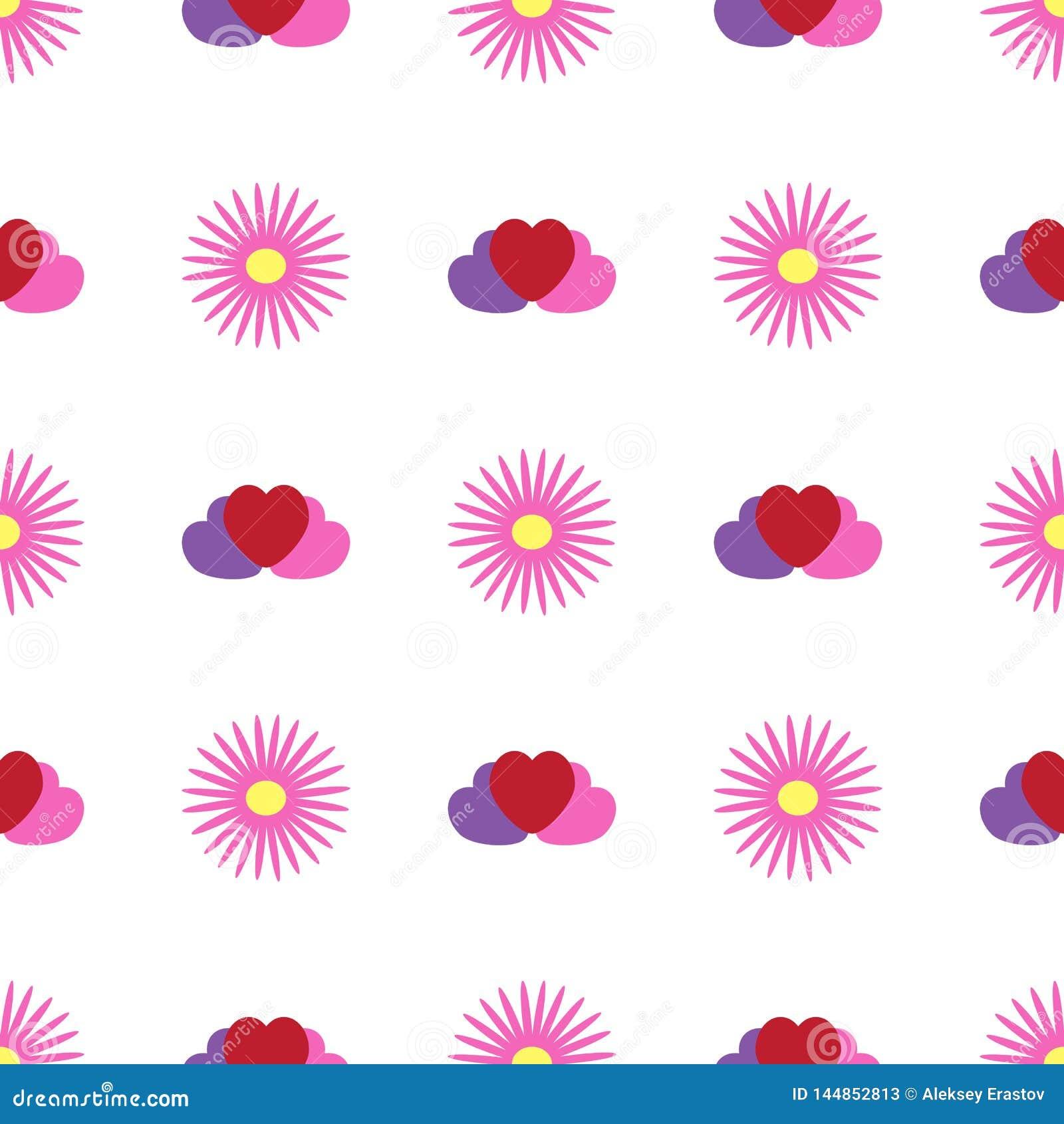 Eenvoudig naadloos patroon met bloemen en harten Bloemen vectorillustratie