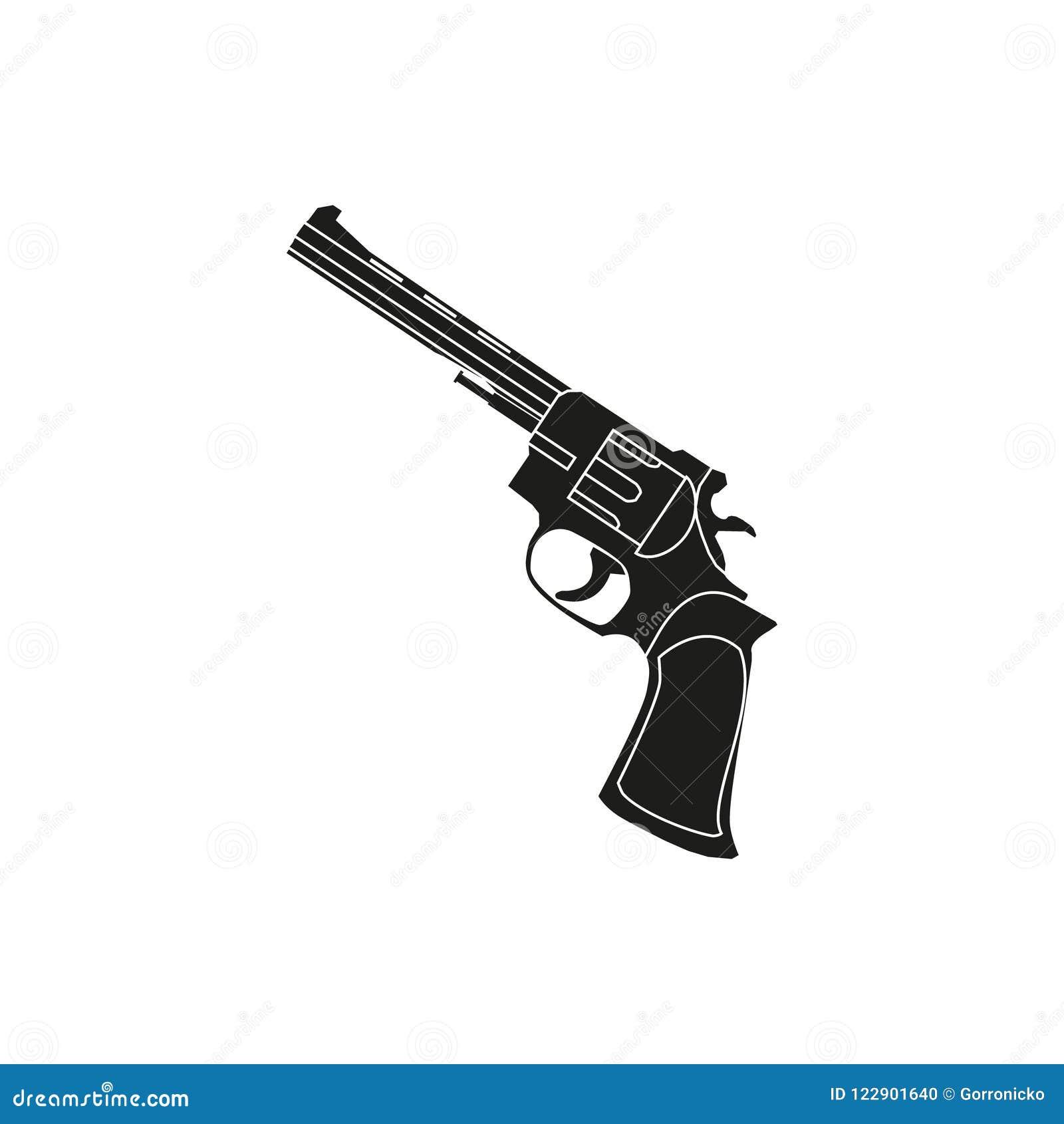 Eenvoudig vectoroverzichtspictogram met een revolver