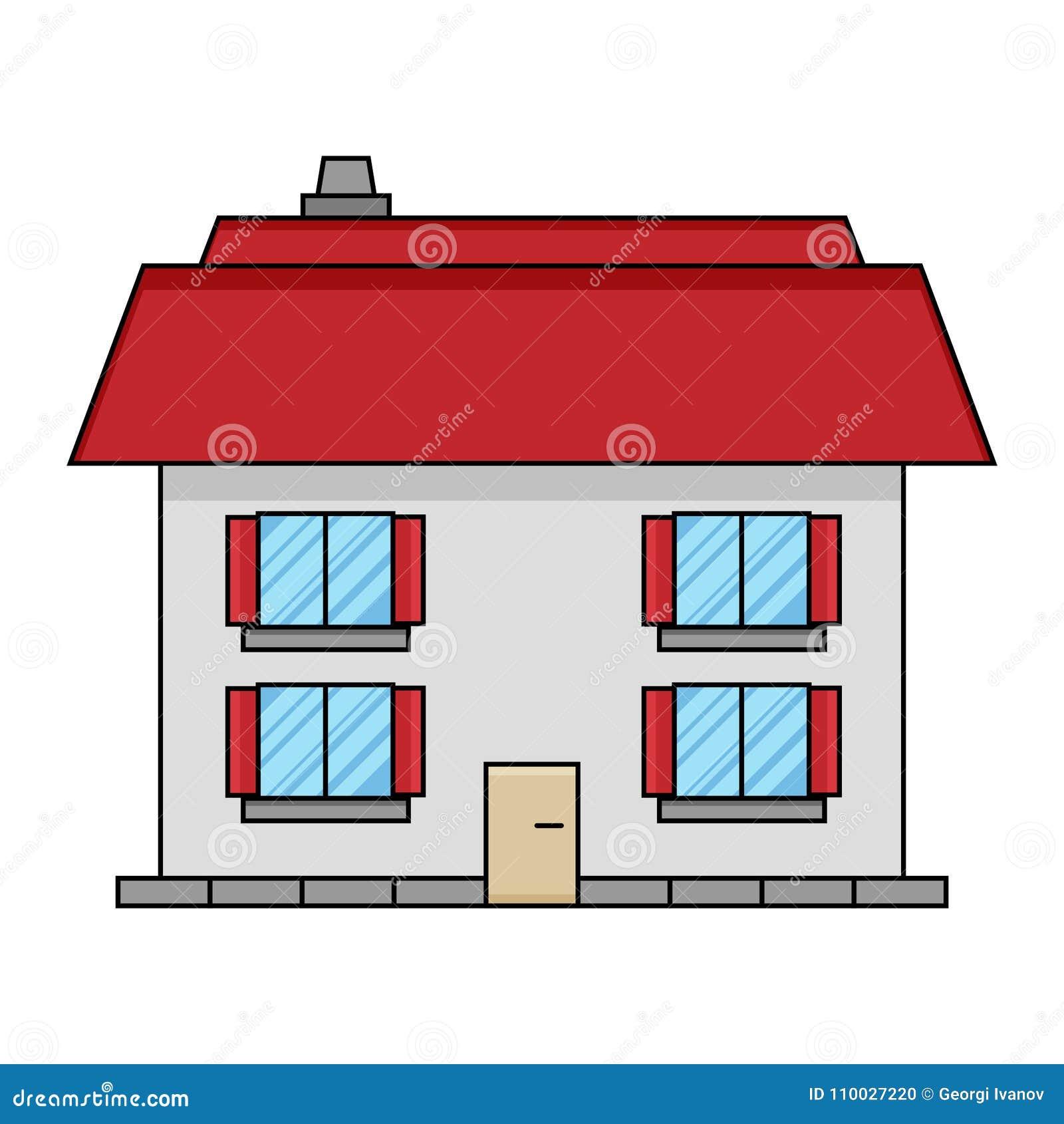 Eenvoudig, vlak huisontwerp Vier Vensters Geïsoleerd op wit