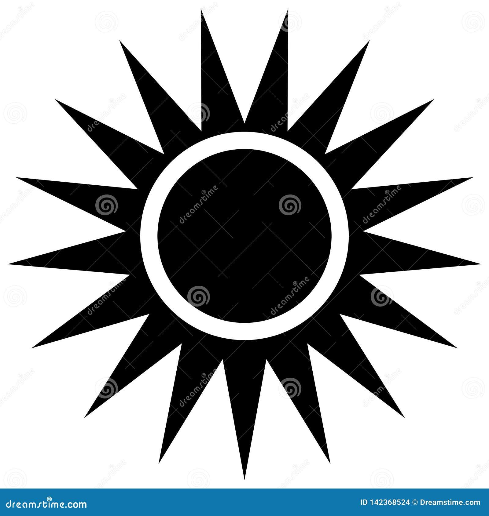 Eenvoudig zon vectorpictogram op witte achtergrond
