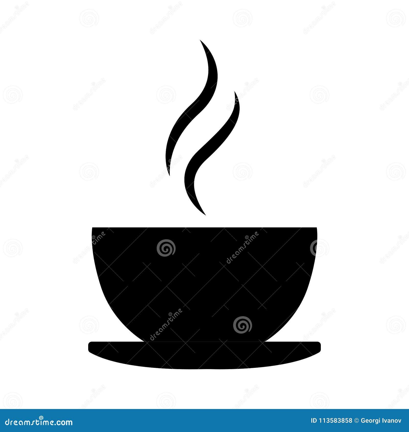 Eenvoudig, zwart het silhouetpictogram/embleem van de koffiekop Heet drankpictogram Geïsoleerd op wit