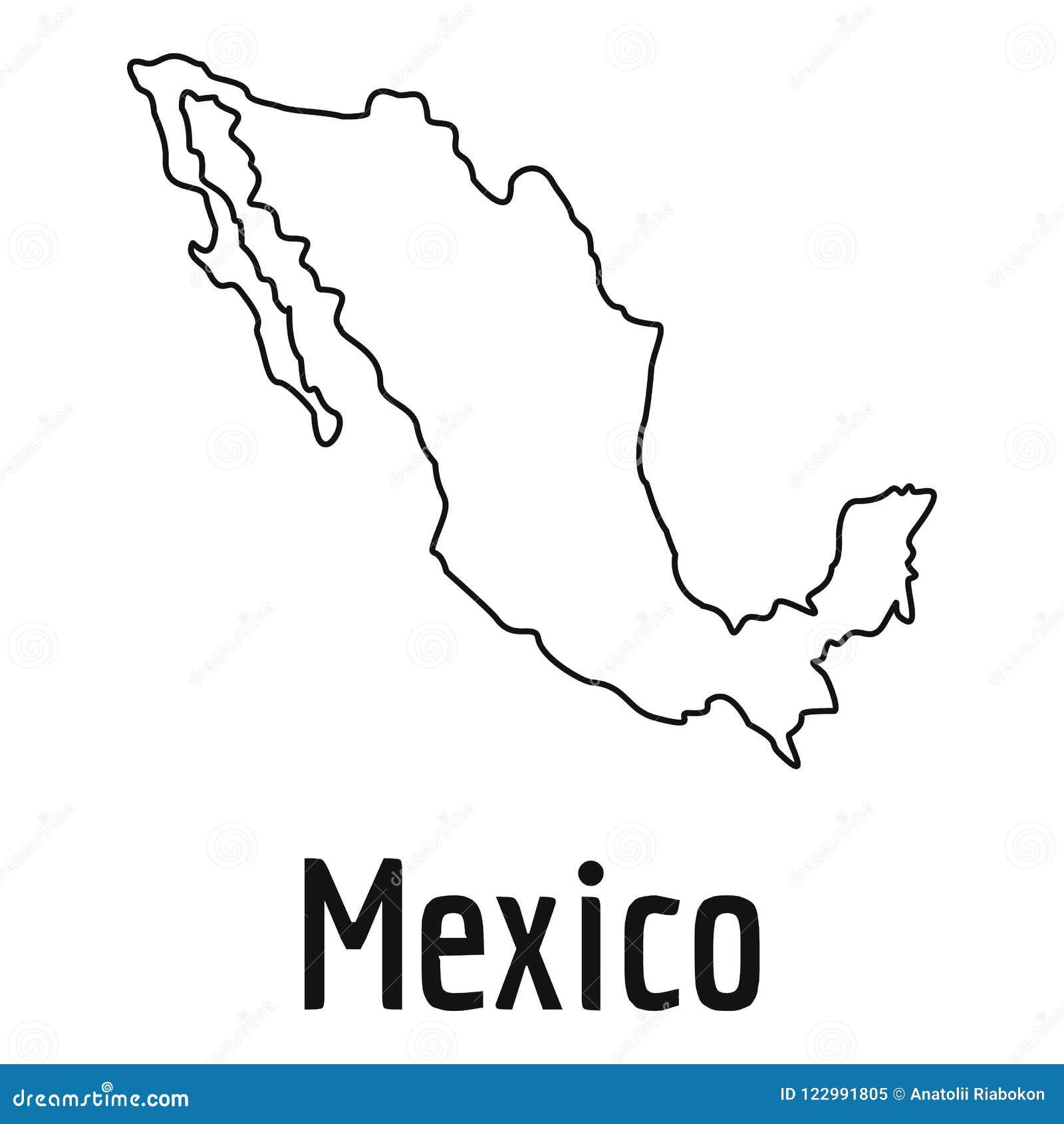 Eenvoudige de kaart dunne lijn van Mexico