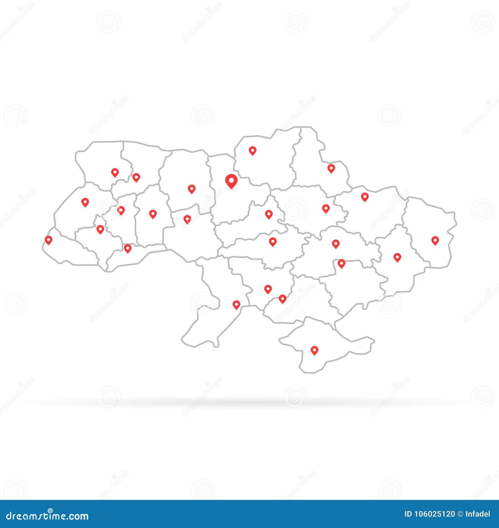 Eenvoudige dunne lijn de Oekraïne met rode kaartspeld