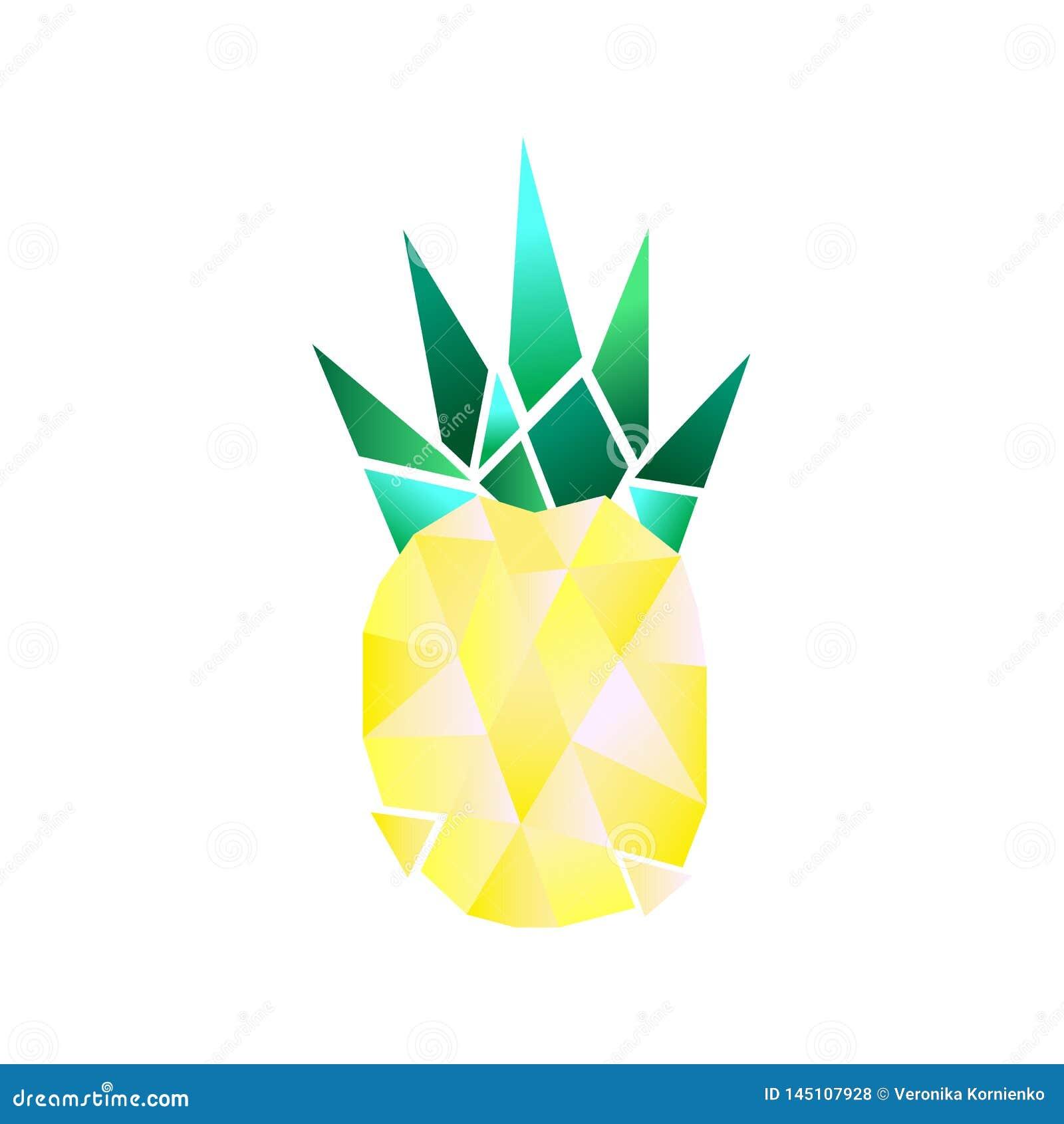 Eenvoudige en kleurrijke vector veelhoekige ananas