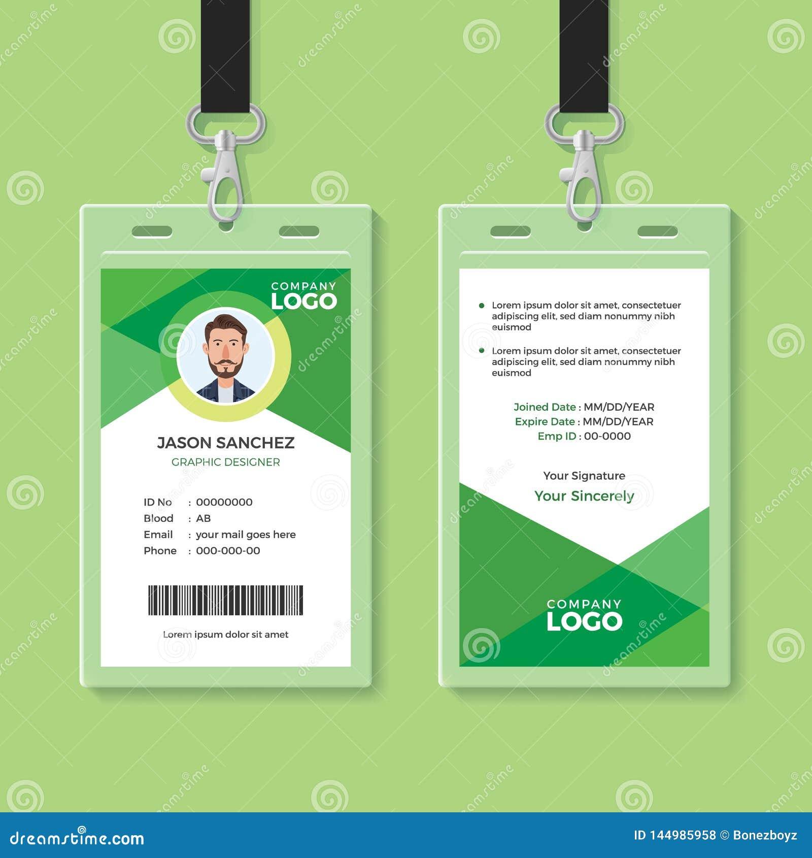 Eenvoudige en Schone Groene Identiteitskaartontwerpsjabloon