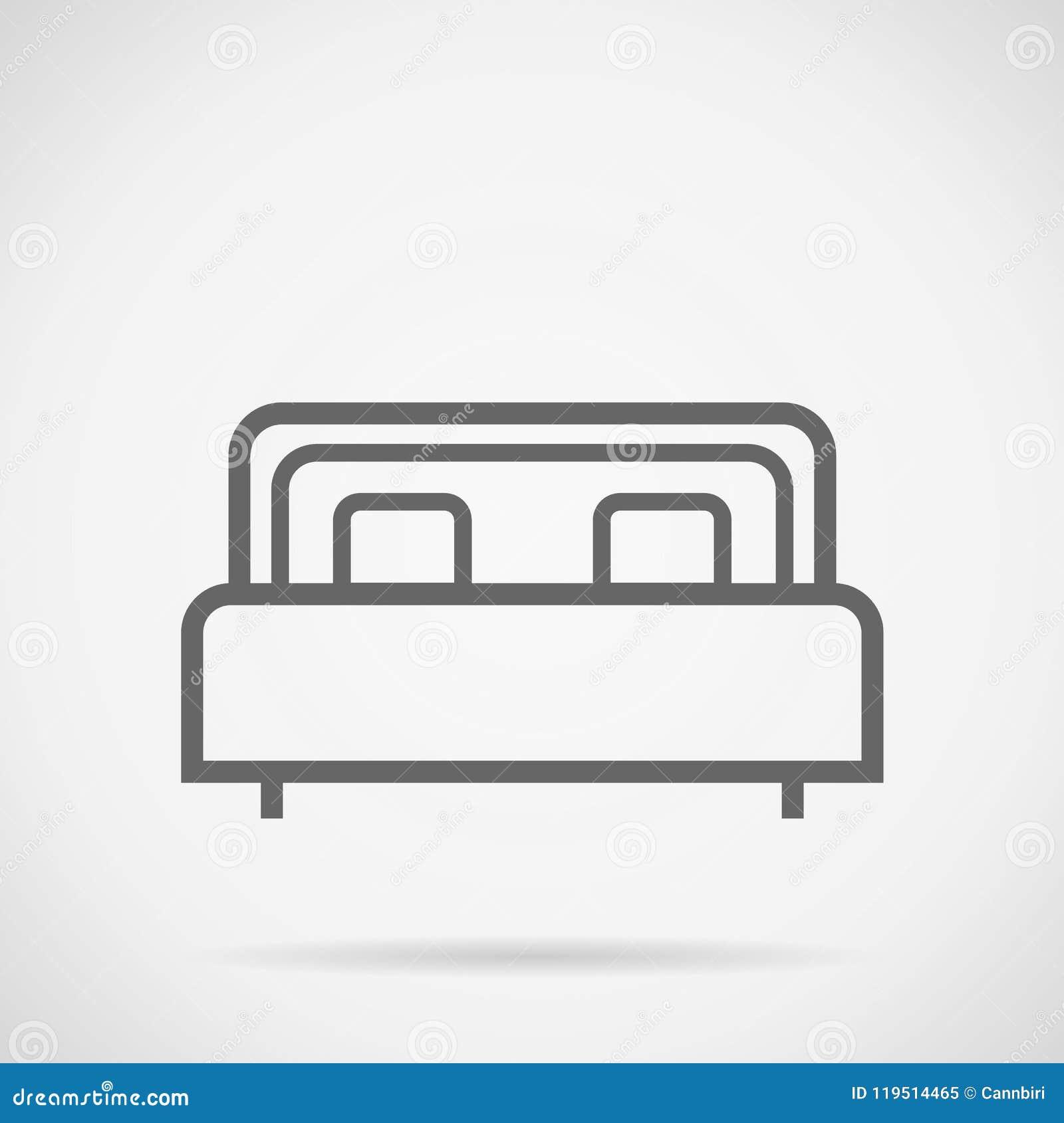 Eenvoudige het ontwerp vectortekening van het bedpictogram
