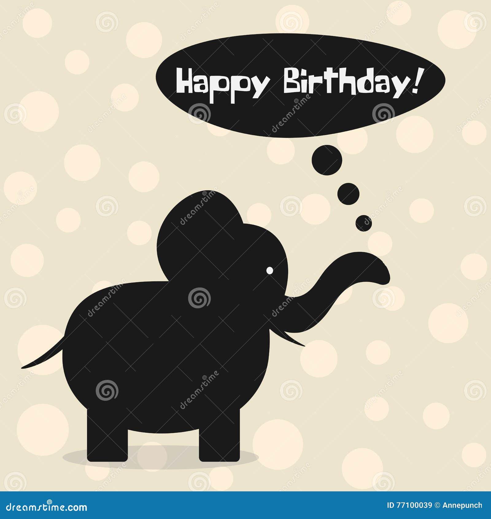 Eenvoudige Kaart Gelukkige Verjaardag Beeldverhaalsilhouet Van
