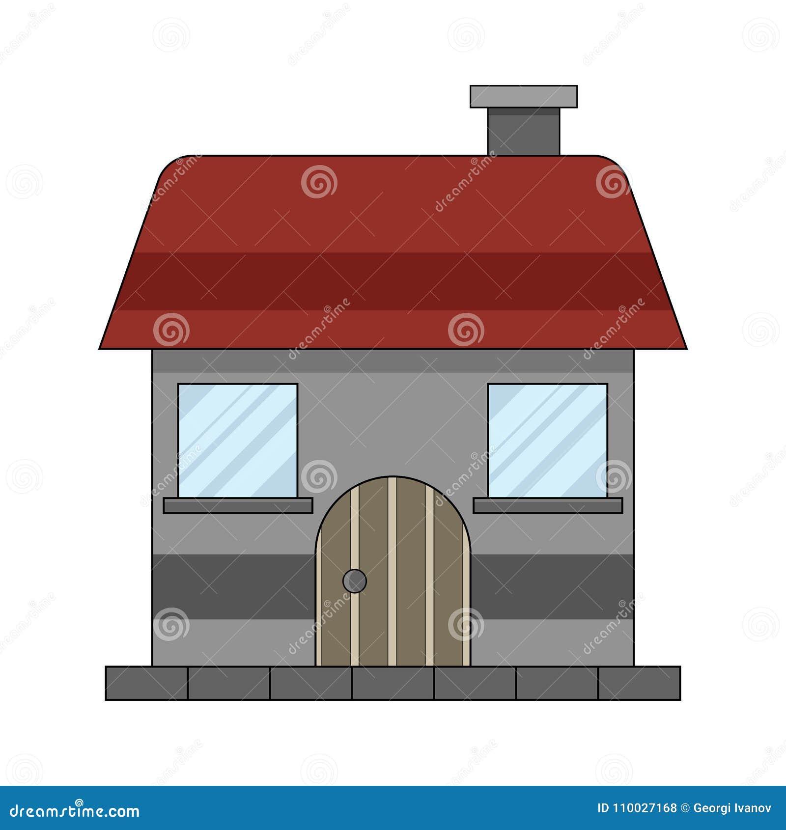 Eenvoudige, kleine vlakke huisillustratie