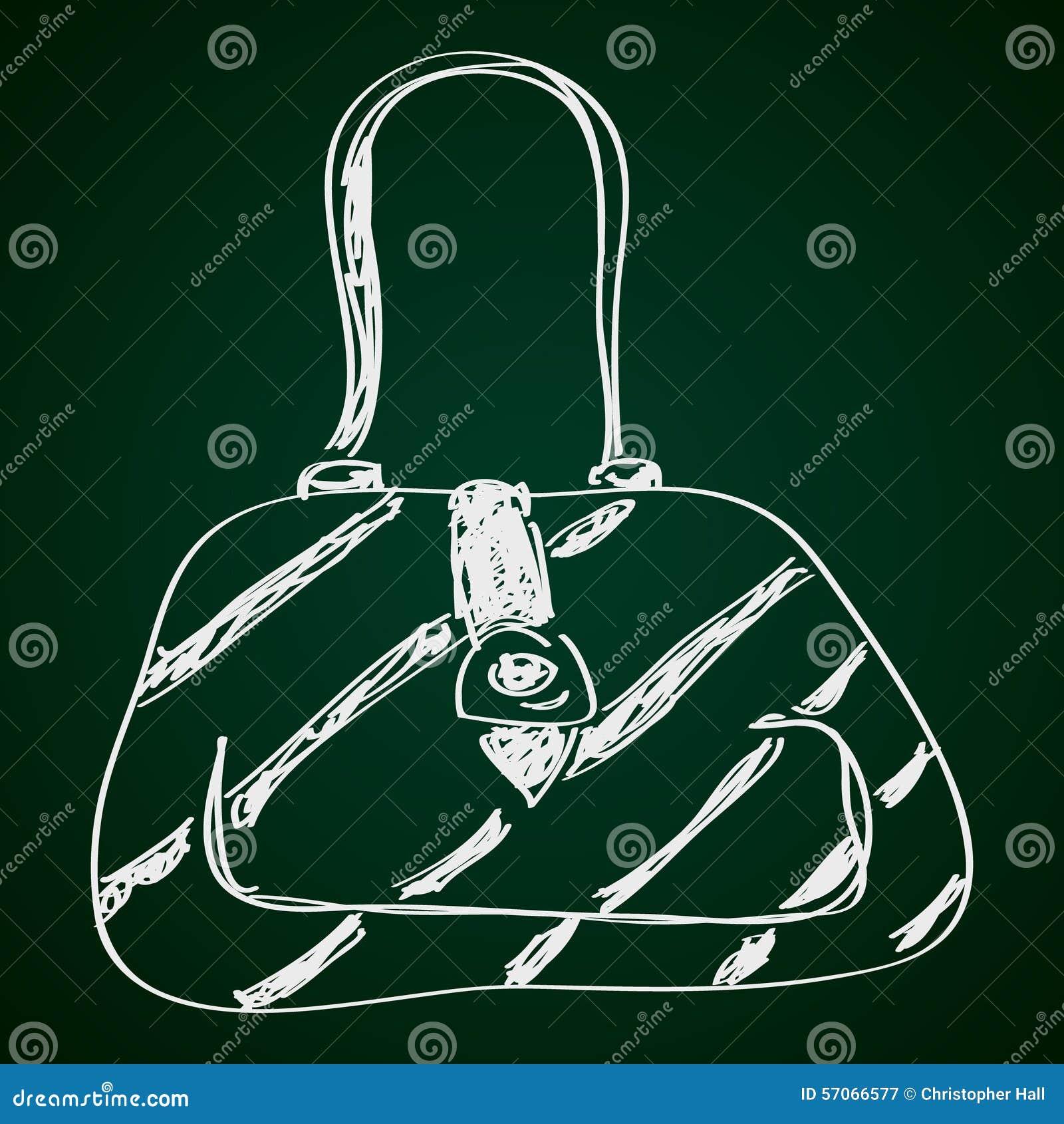 Eenvoudige krabbel van een handtas