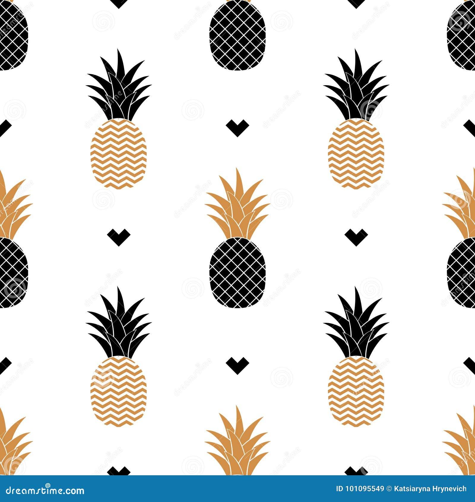 Eenvoudige naadloze achtergrond met een beeld van gouden ananas Vector