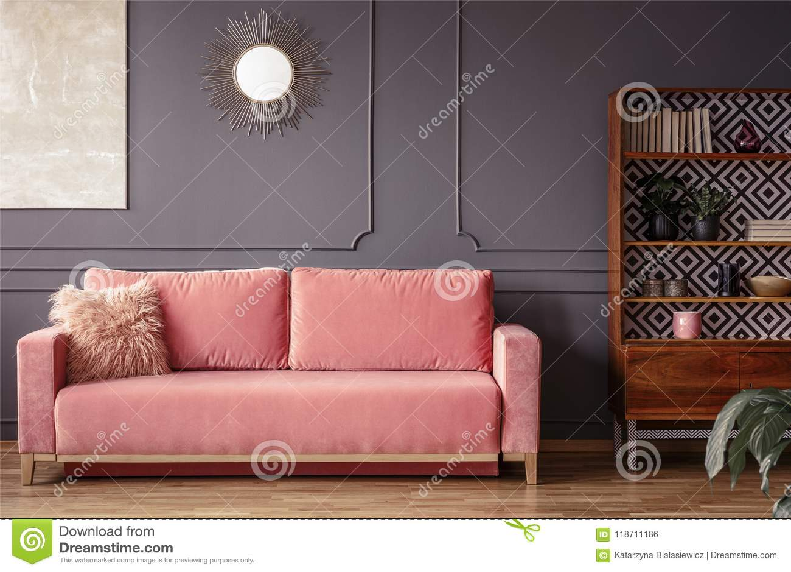 Eenvoudige Roze Bank Met Een Bont Binnen Hoofdkussen Naast