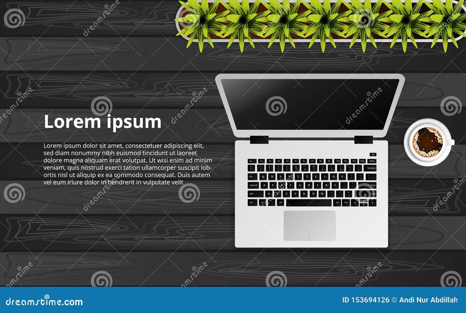Eenvoudige schone laptop hoogste mening over het houten bureau met installatie