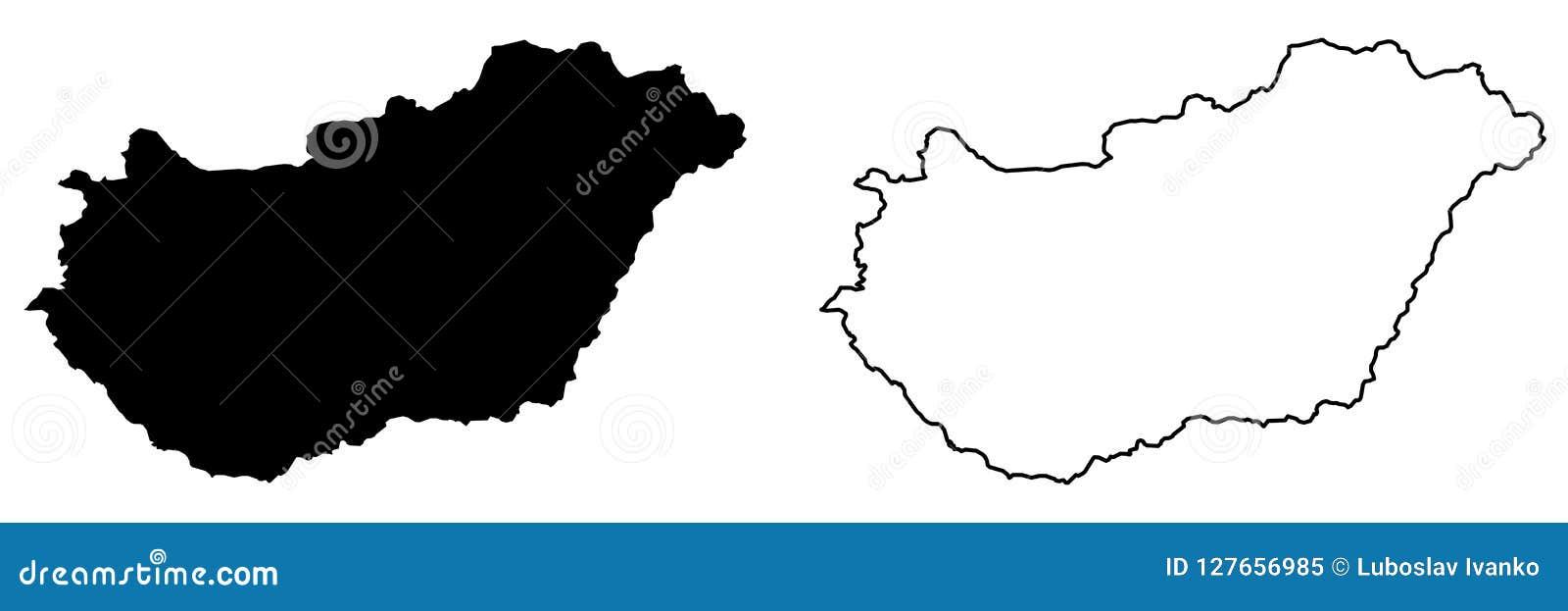 Eenvoudige slechts scherpe hoekenkaart van de vectortekening van Hongarije Merca